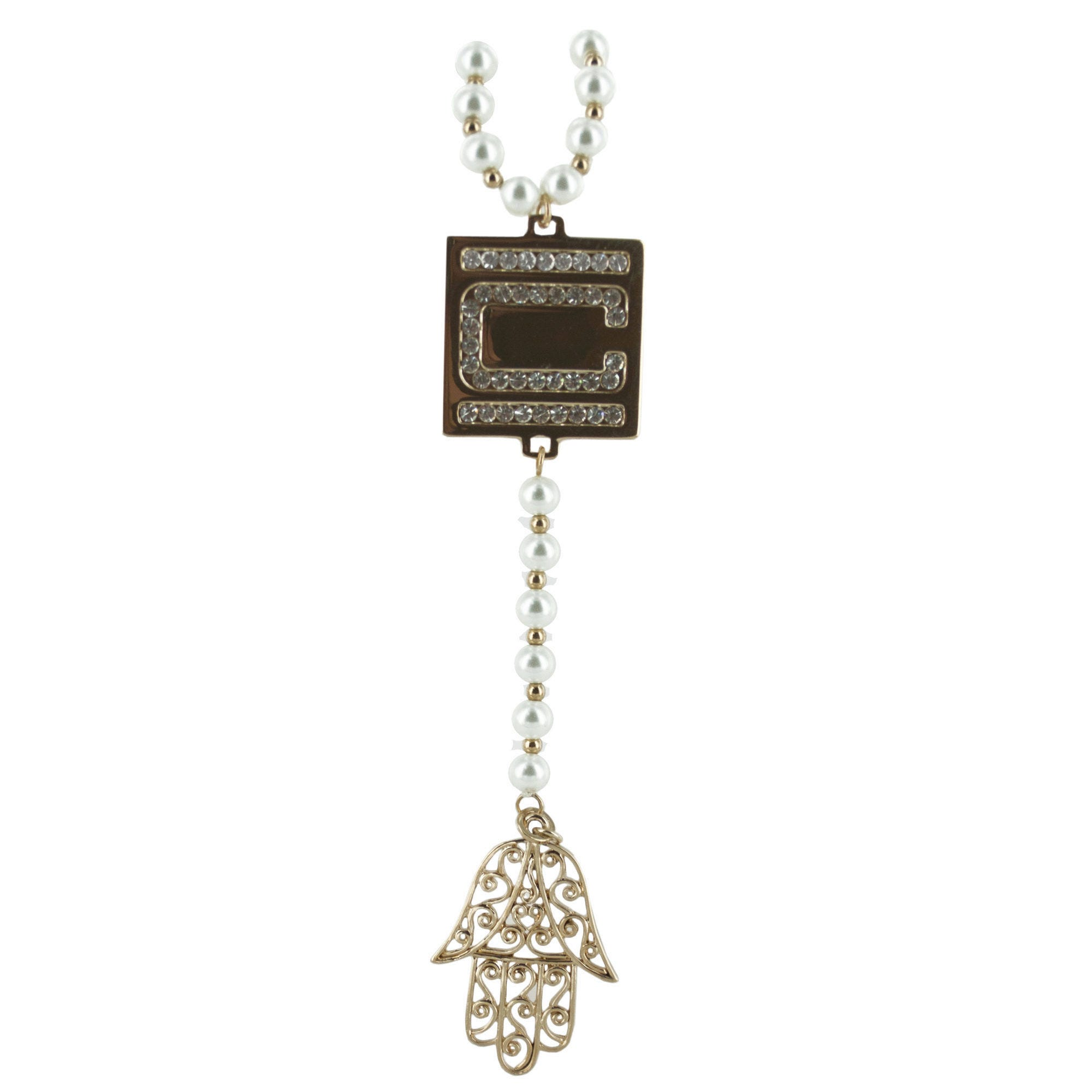 Nikki Chu Gold PEARL Rosary Hand Necklace- Qty 4