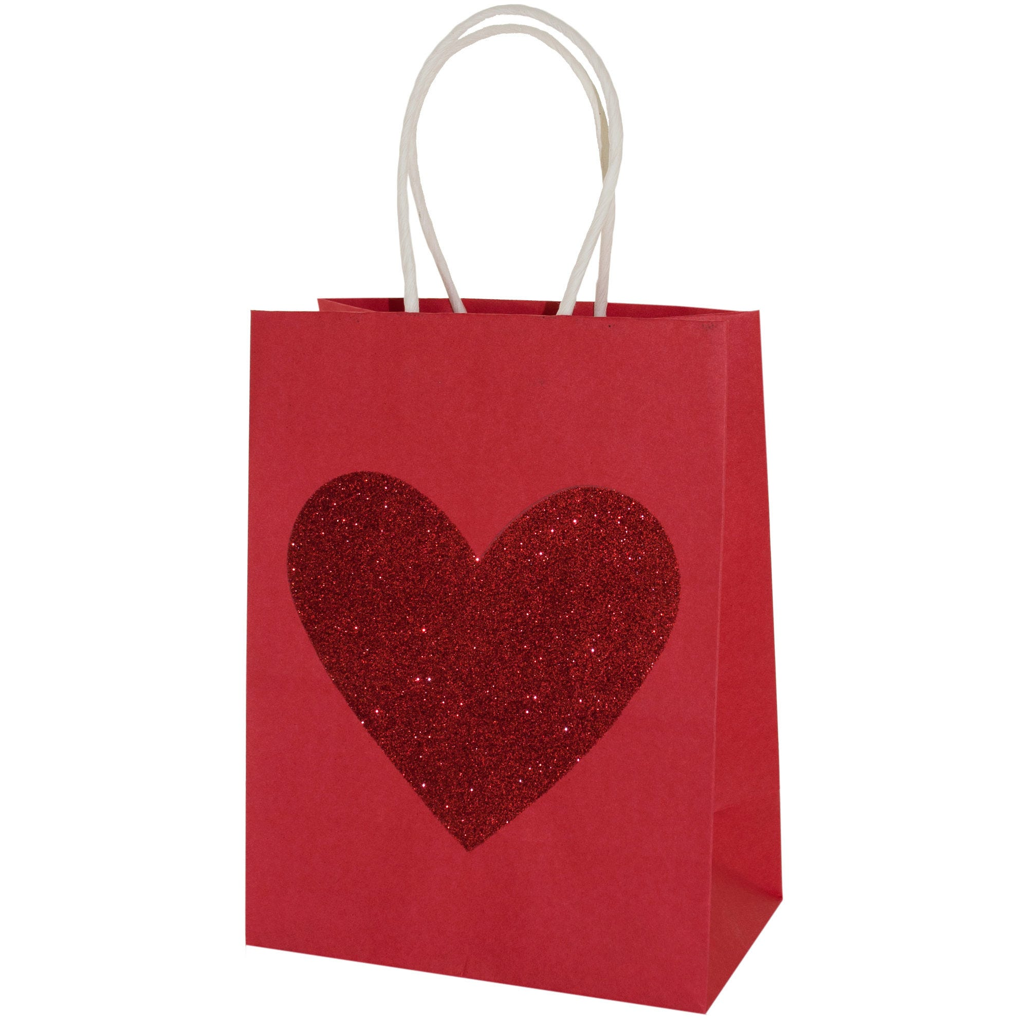 Small Red Glitter Heart VALENTINE Gift Bag- Qty 24
