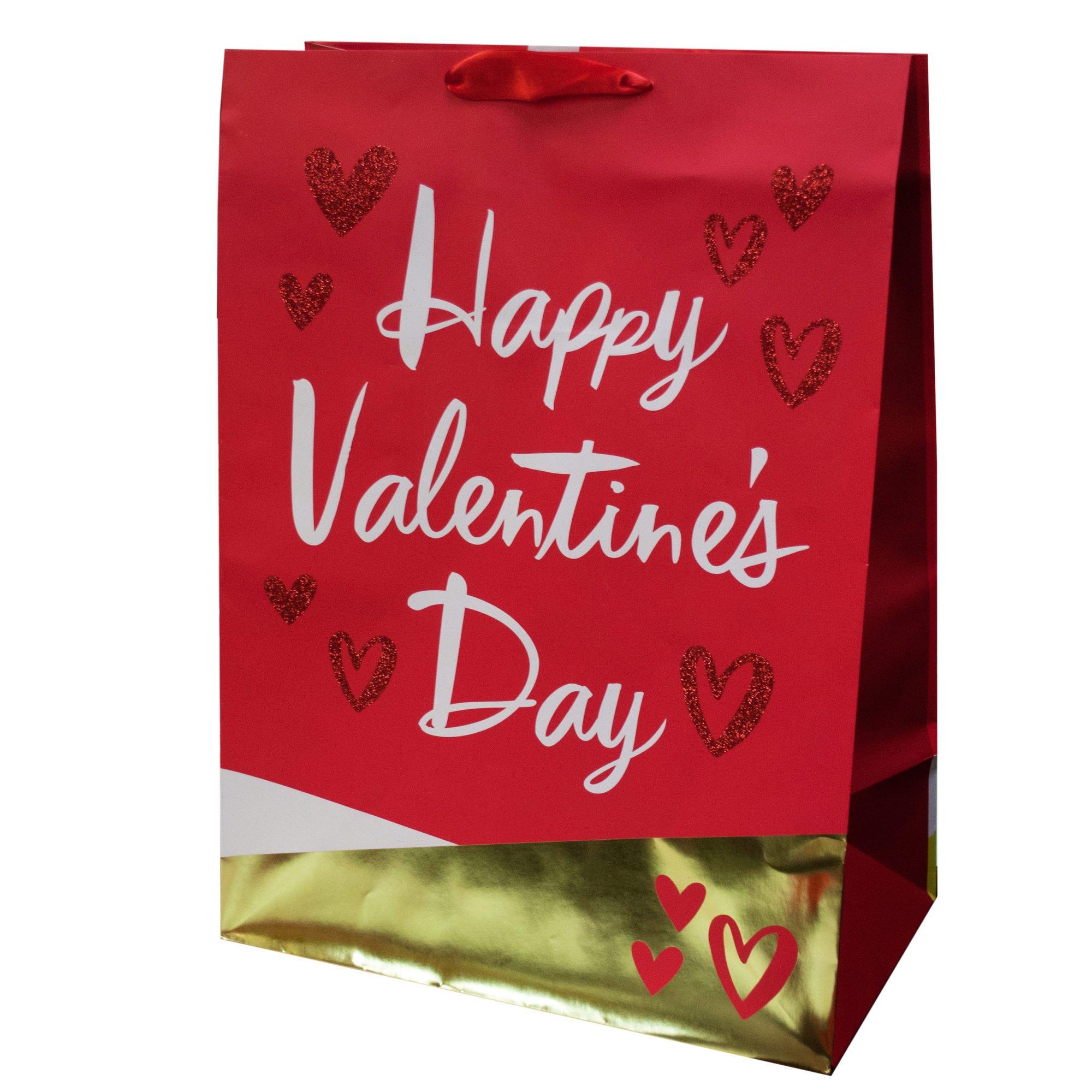 Mega Gold Foil & Glitter Hearts VALENTINE Gift Bag- Qty 24