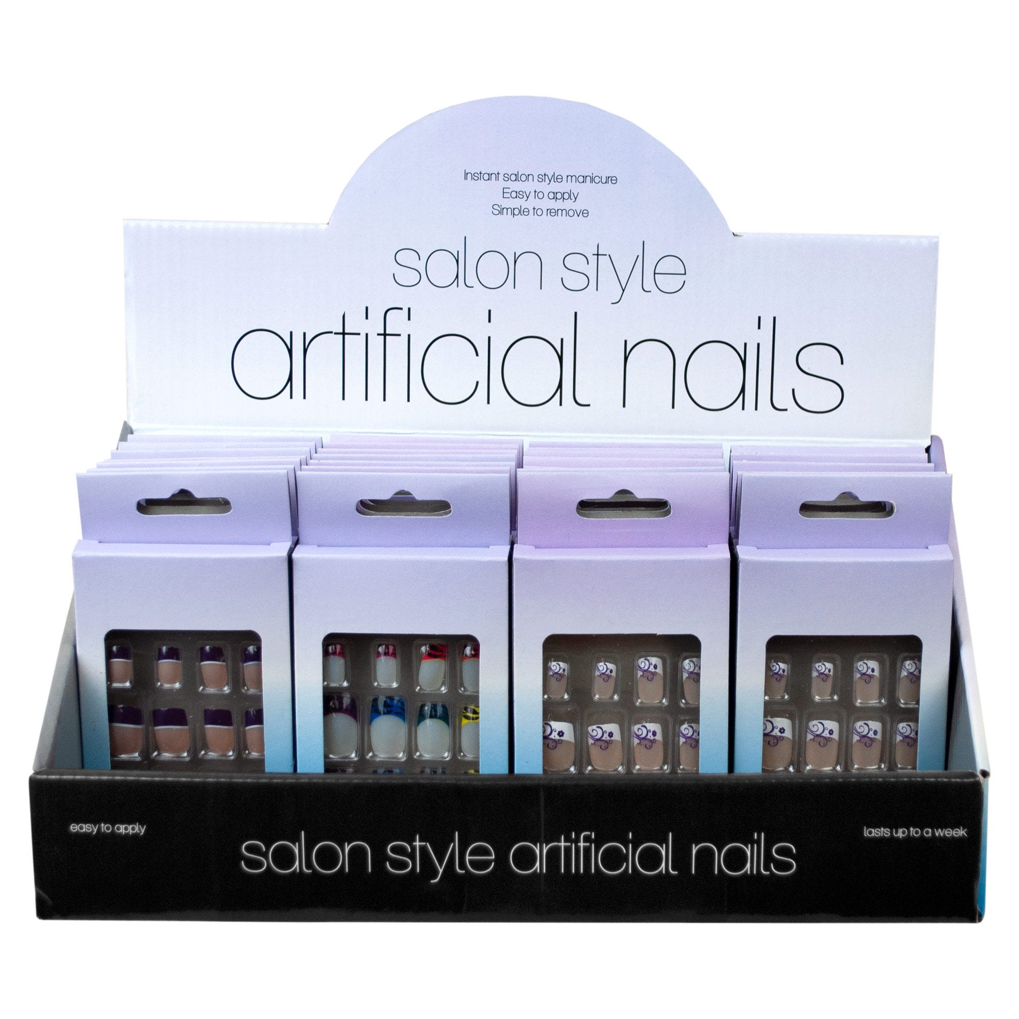 French Tip Artificial NAILS Countertop Display- Qty 48
