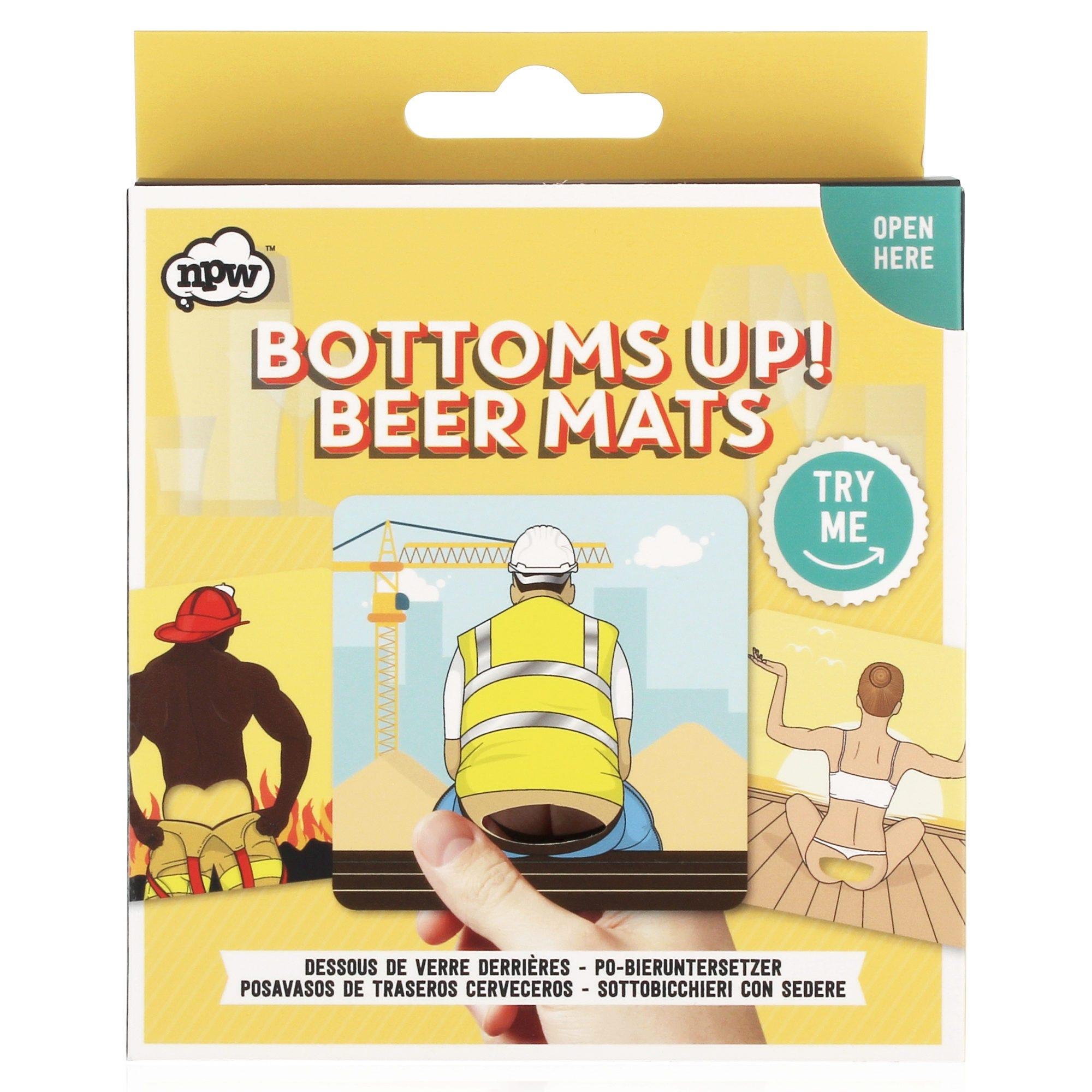 Bottoms Up Novelty Bum Beer Mats