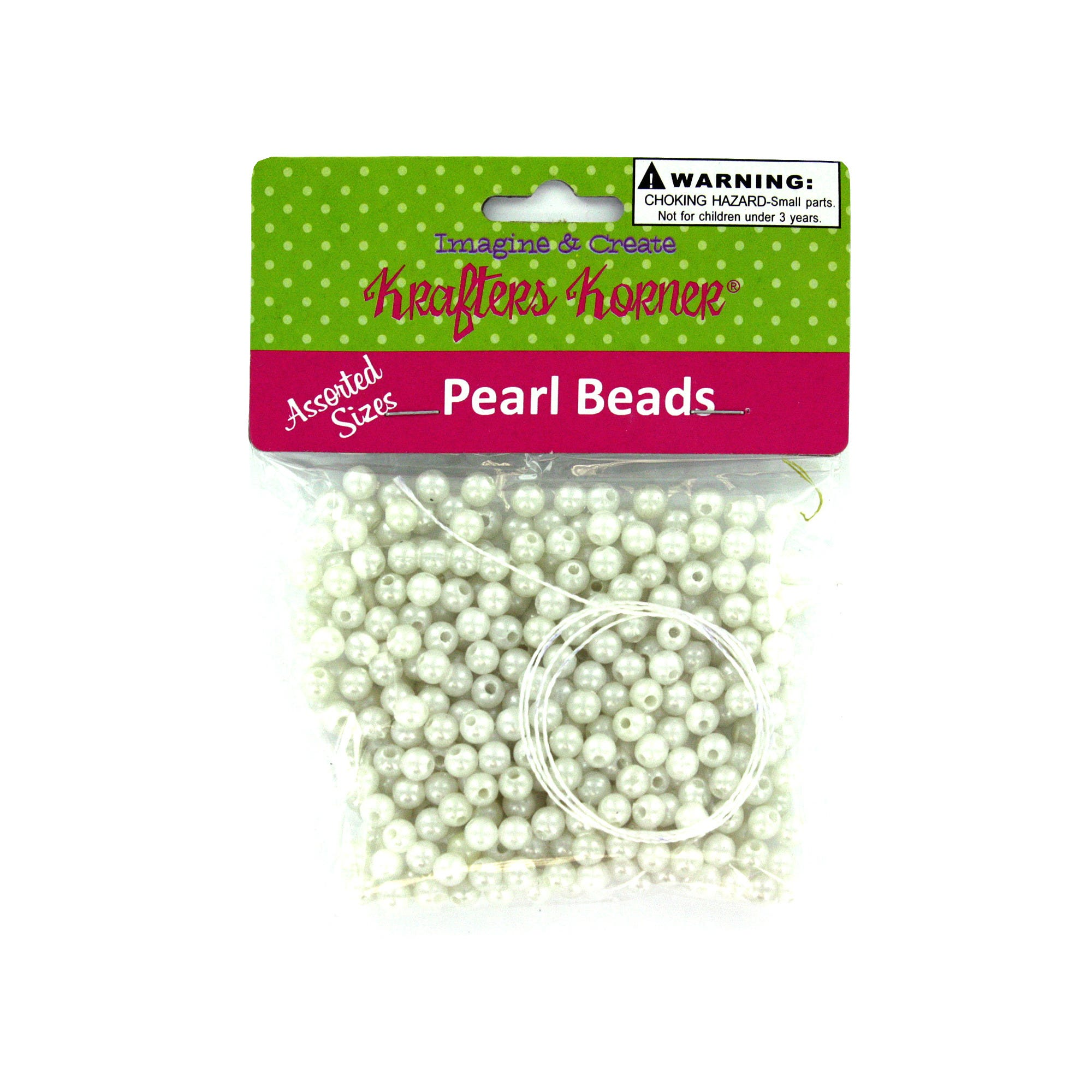 Plastic Craft PEARL Beads- Qty 24