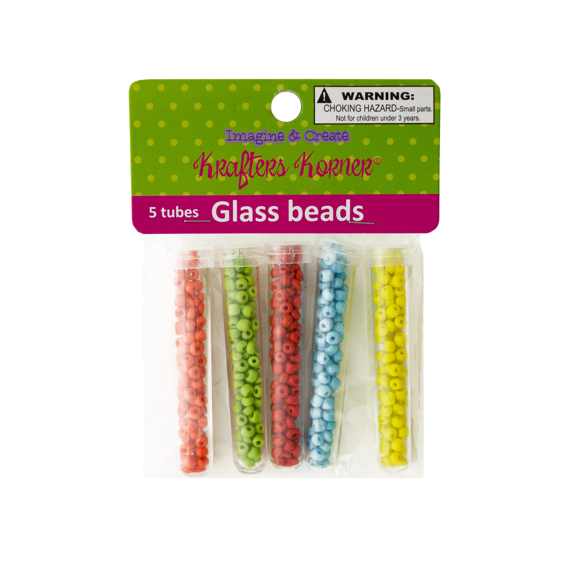 Multi-Color GLASS BEADS in Tubes- Qty 24
