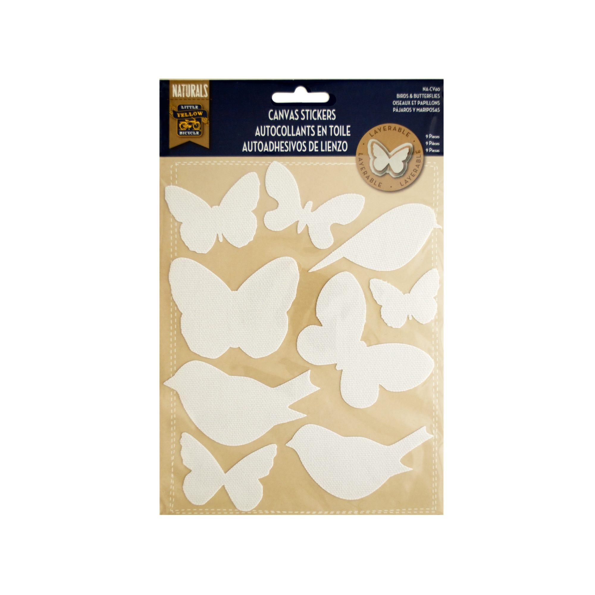 Layerable Birds & Butterflies Canvas STICKERS- Qty 24