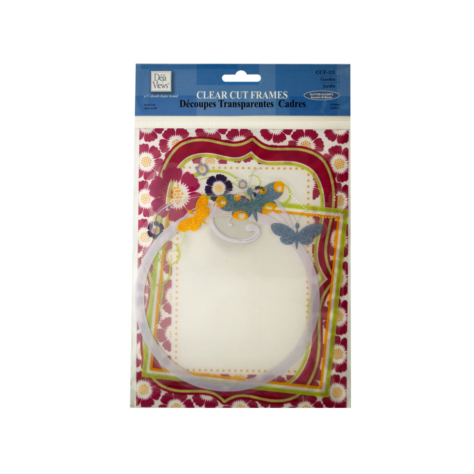 Clear Cut Garden FRAMEs with Glitter Accents- Qty 24