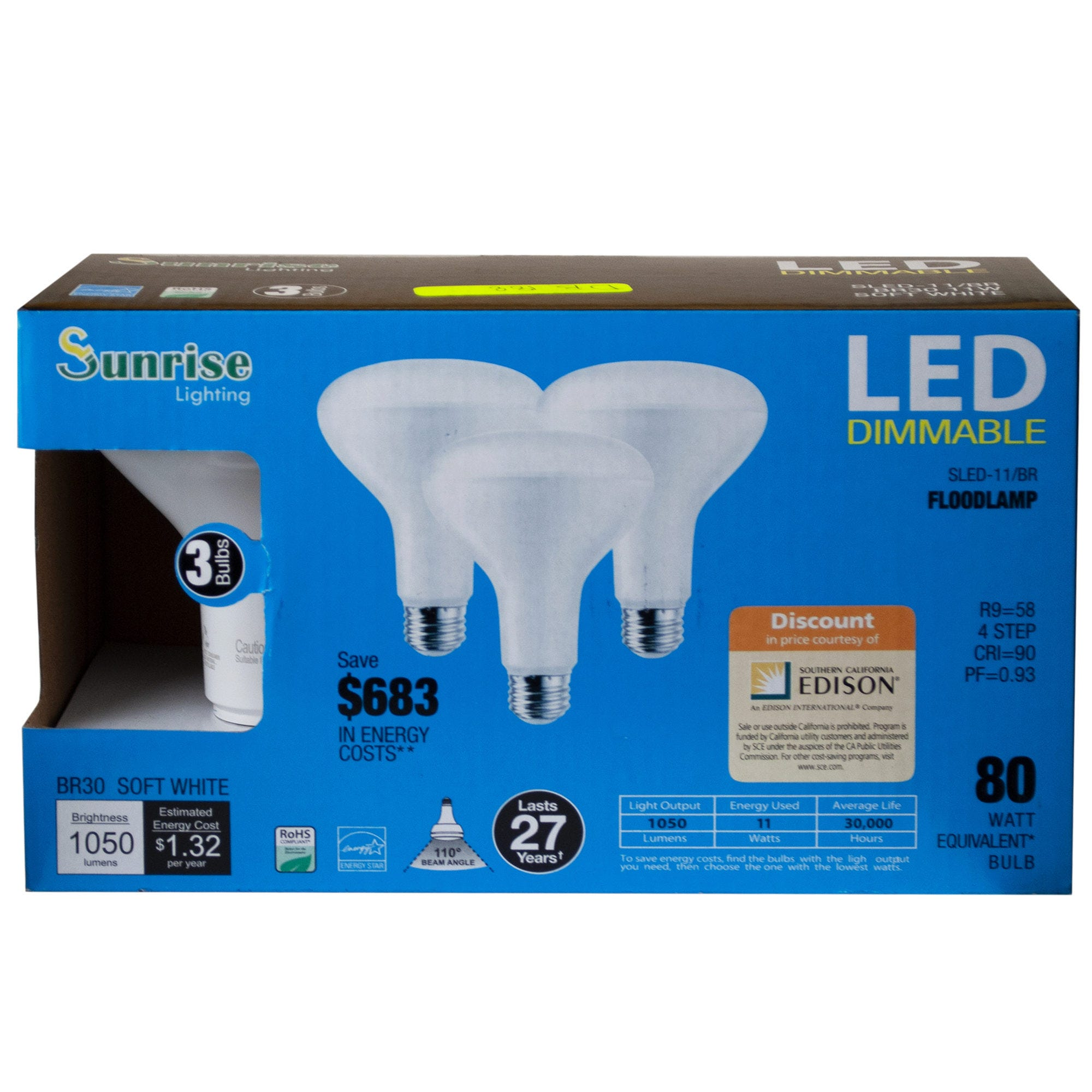3 Pack 11 Watt LED Dimmable Soft White Floodlamp LIGHT BULBS- Qty 8