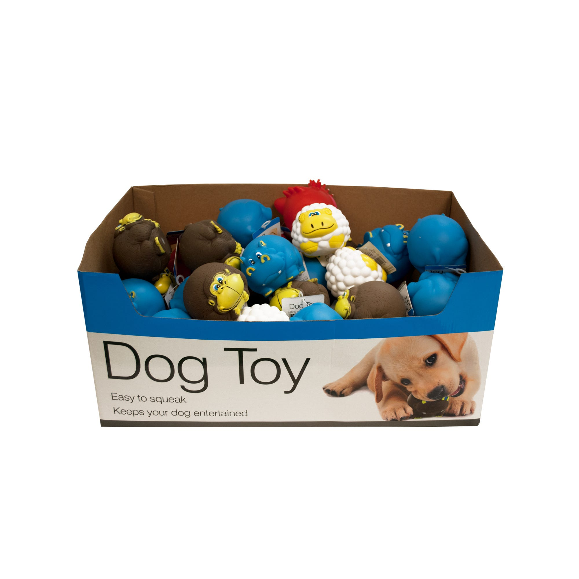 Animal Characters Dog Squeak TOYS Countertop Display - Qty 48