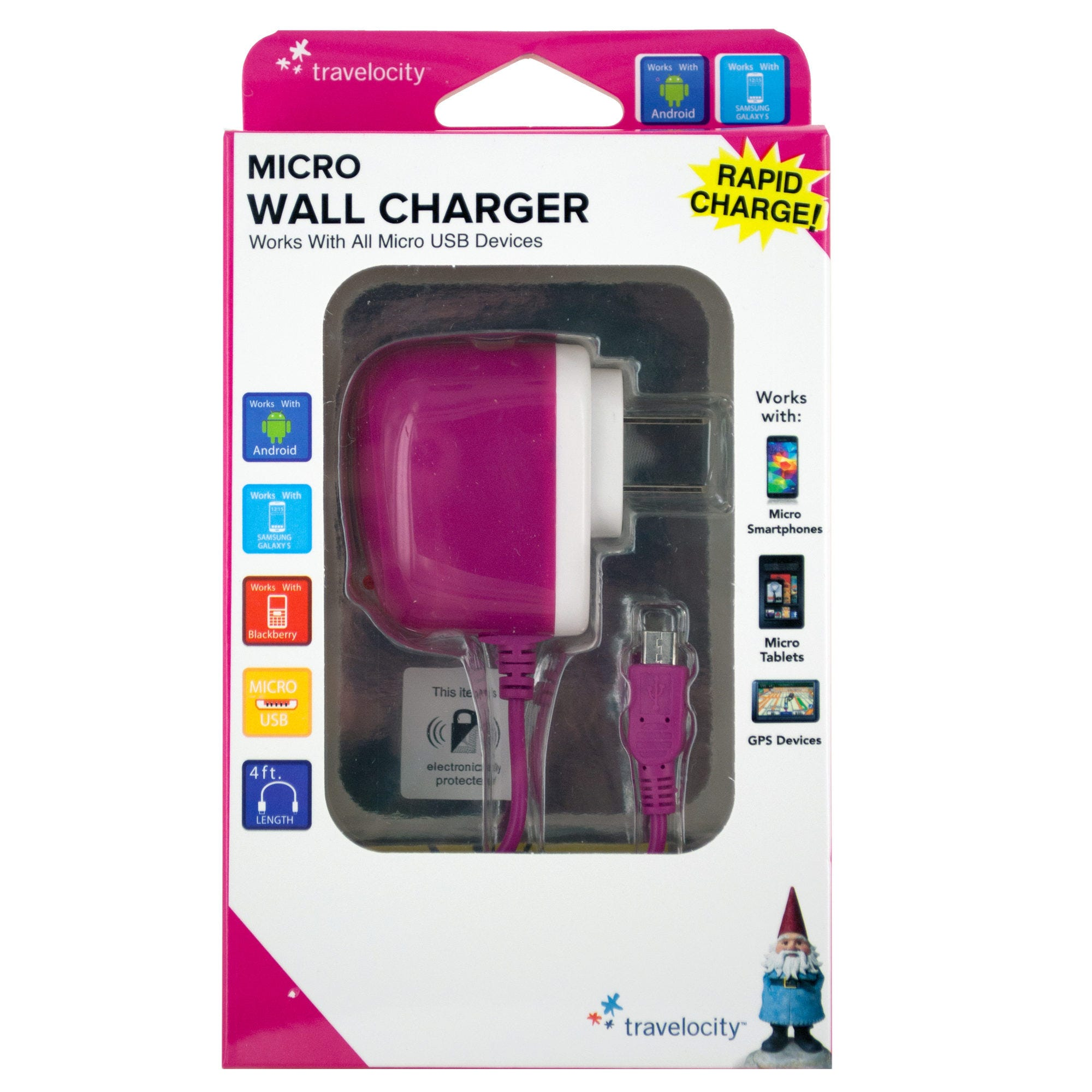 Travelocity Pink Micro USB Wall Charger- Qty 18