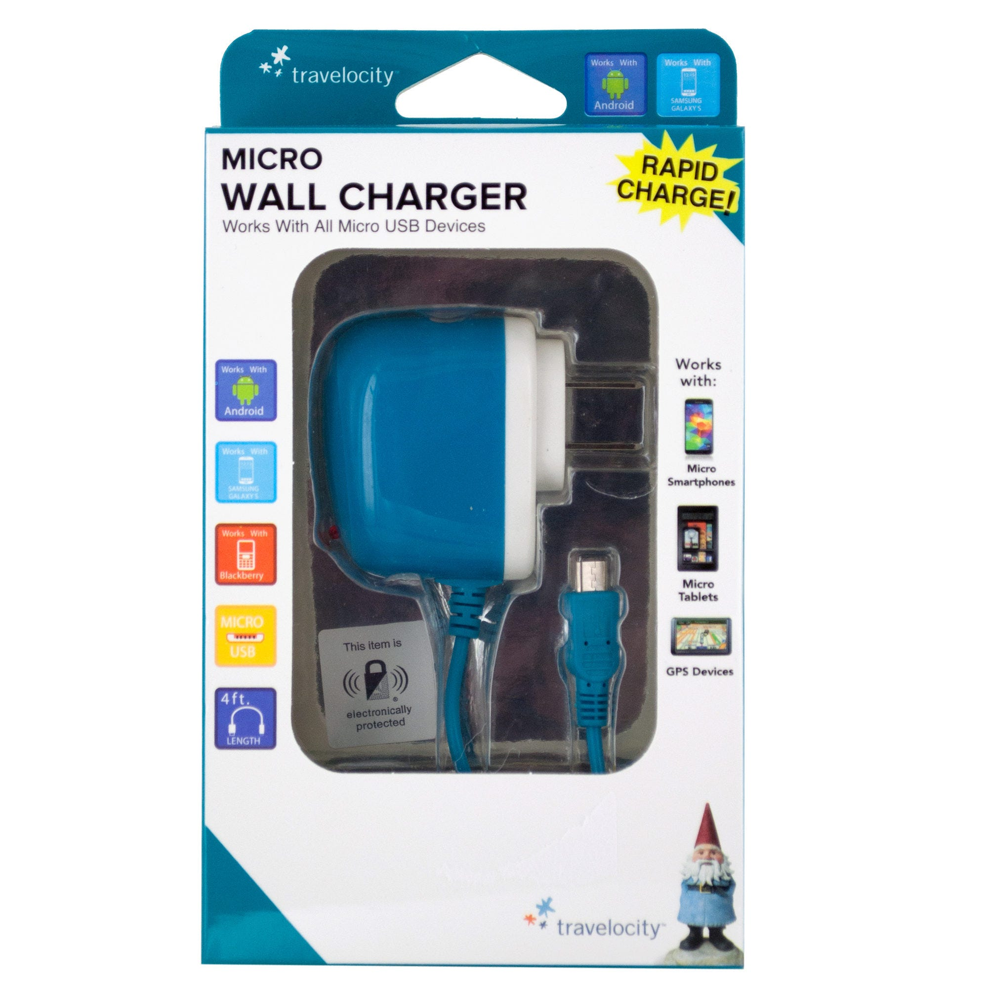 Travelocity Blue Micro USB Wall Charger- Qty 18