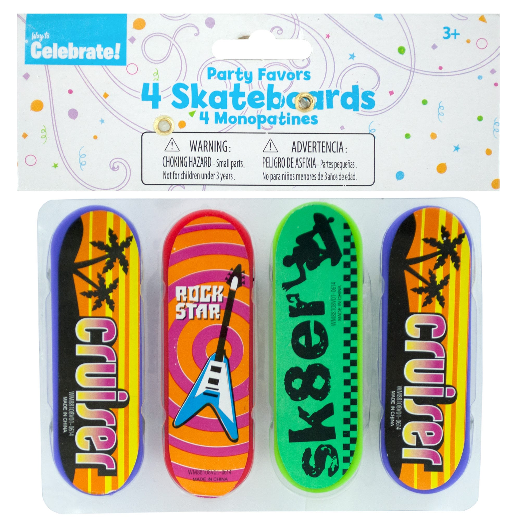 Mini SKATEBOARDs Party Favors- Qty 24