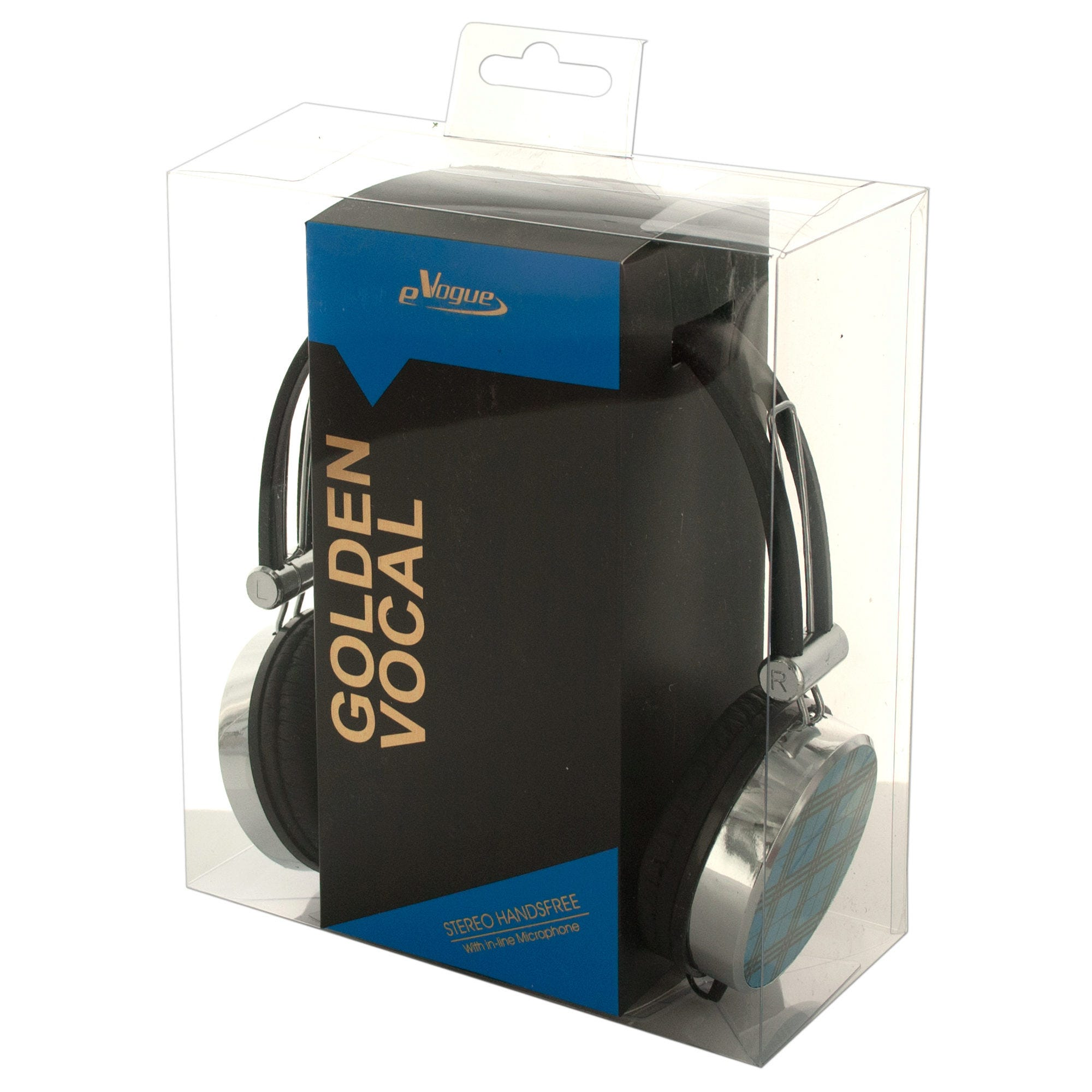 Blue Plaid Stereo HEADPHONES with In-Line Microphone- Qty 4