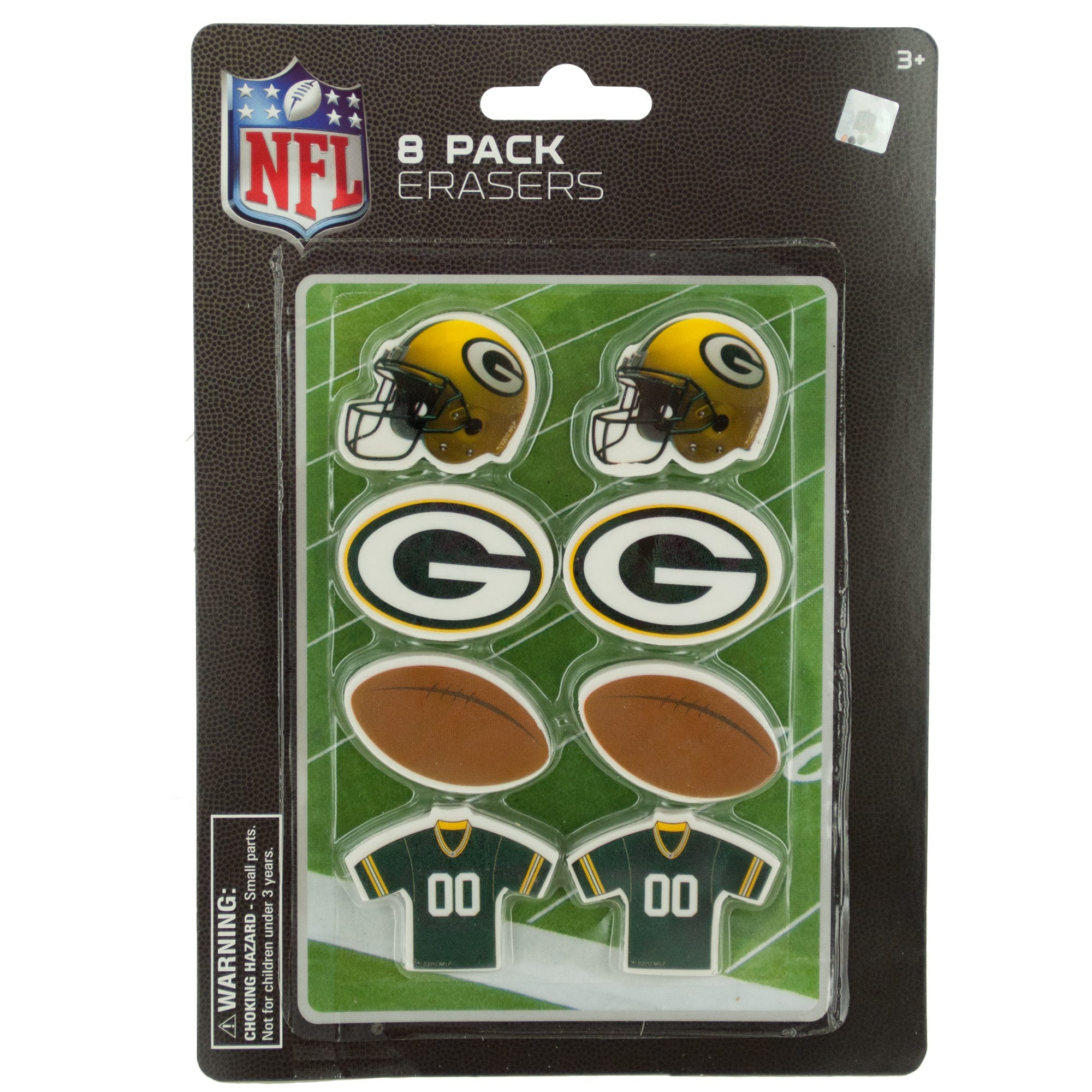 NFL LICENSED Green Bay Packers Shaped Erasers Set- Qty 24