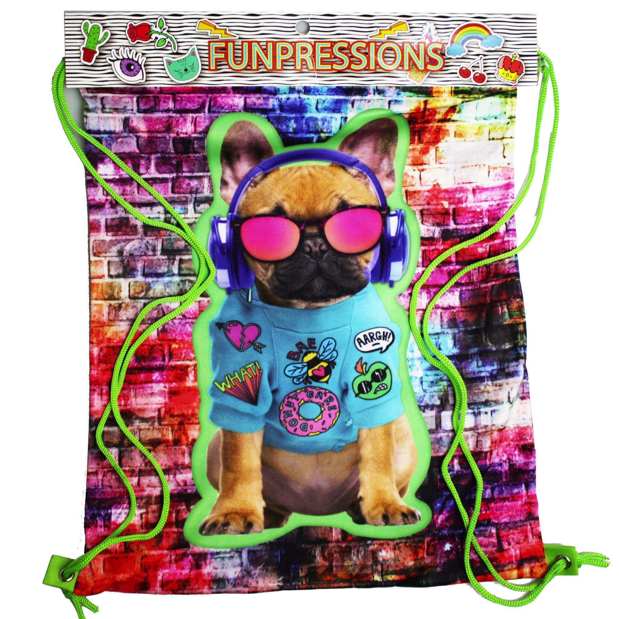 Funpressions Rad Bulldog Drawstring Backpack - Qty 12