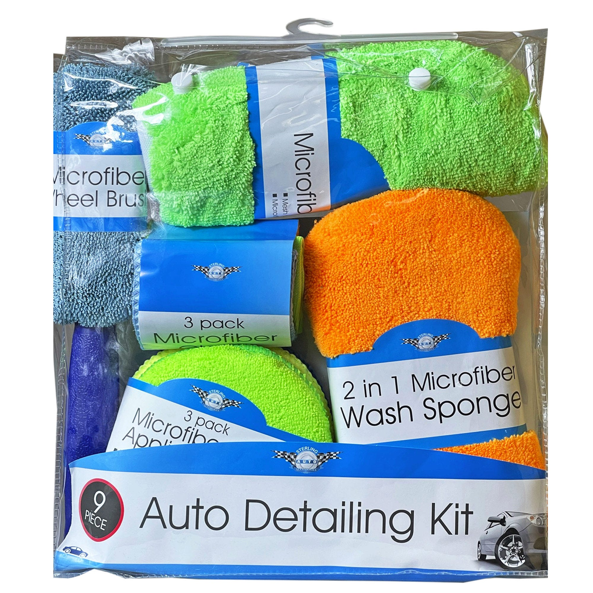 9 Piece Microfiber Car Cleaning Kit