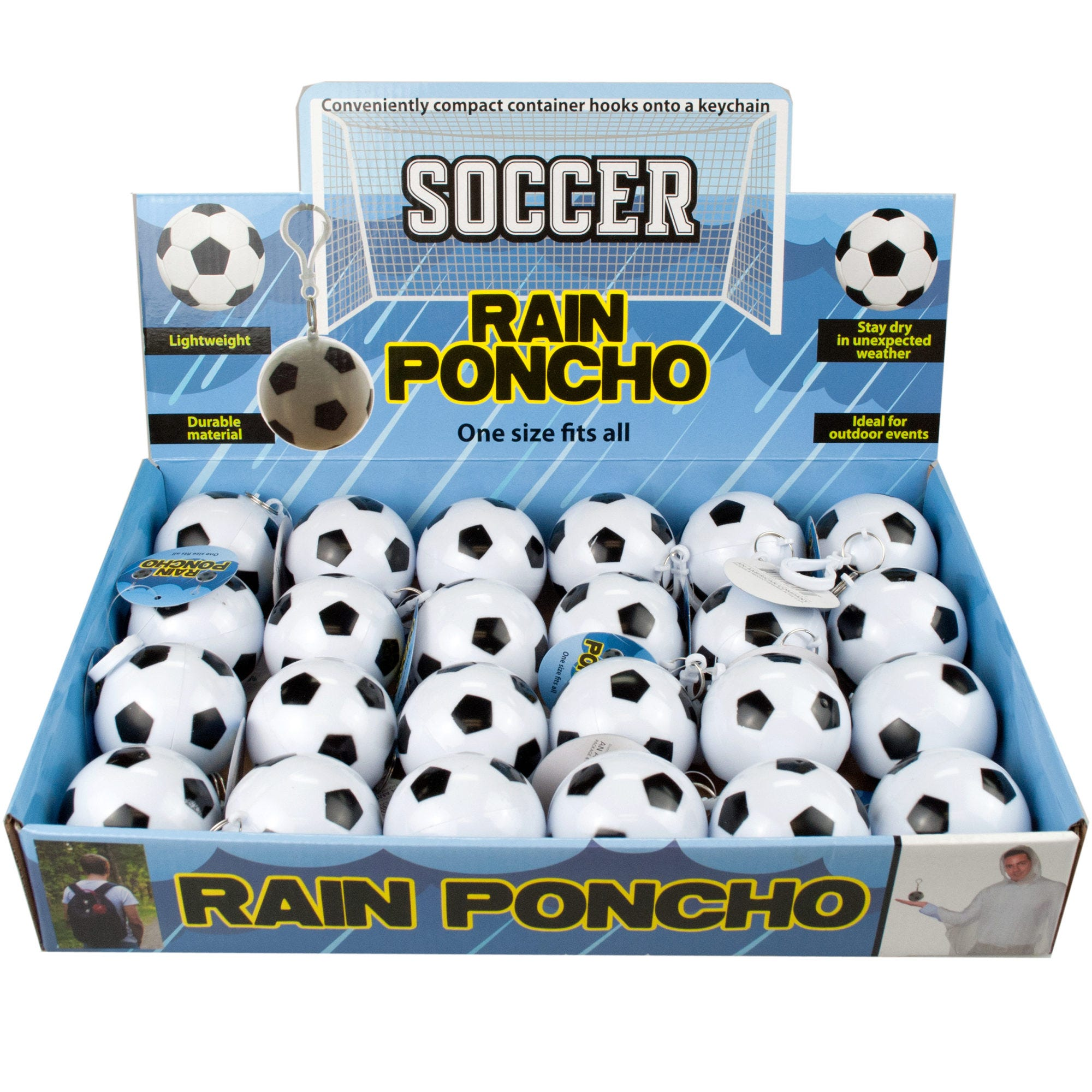 SOCCER Ball Keychain Rain Poncho in Countertop Display- Qty 24