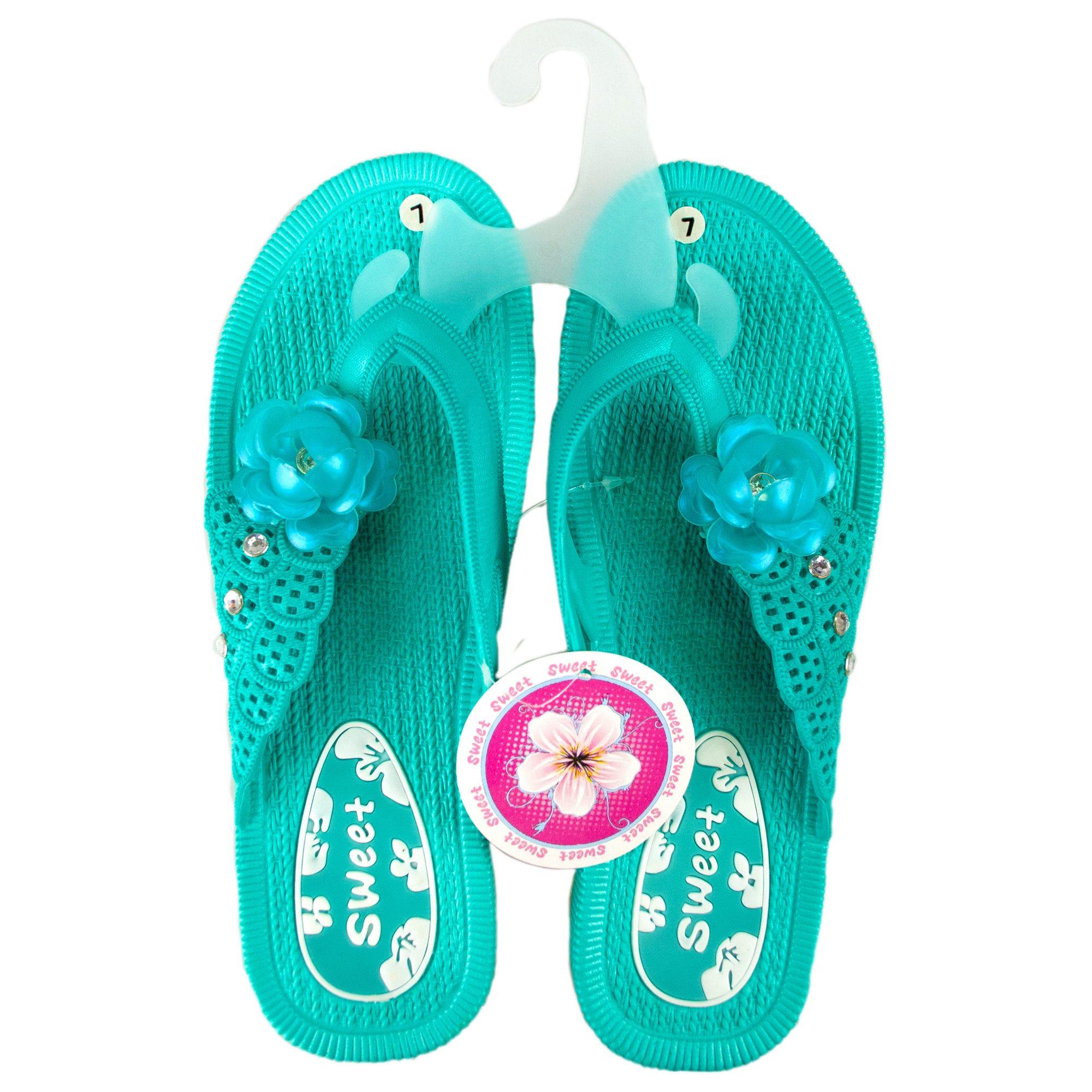 Women's Flower Flip Flop SANDALS - Asst  Colors Sizes 6-10- Qty 24