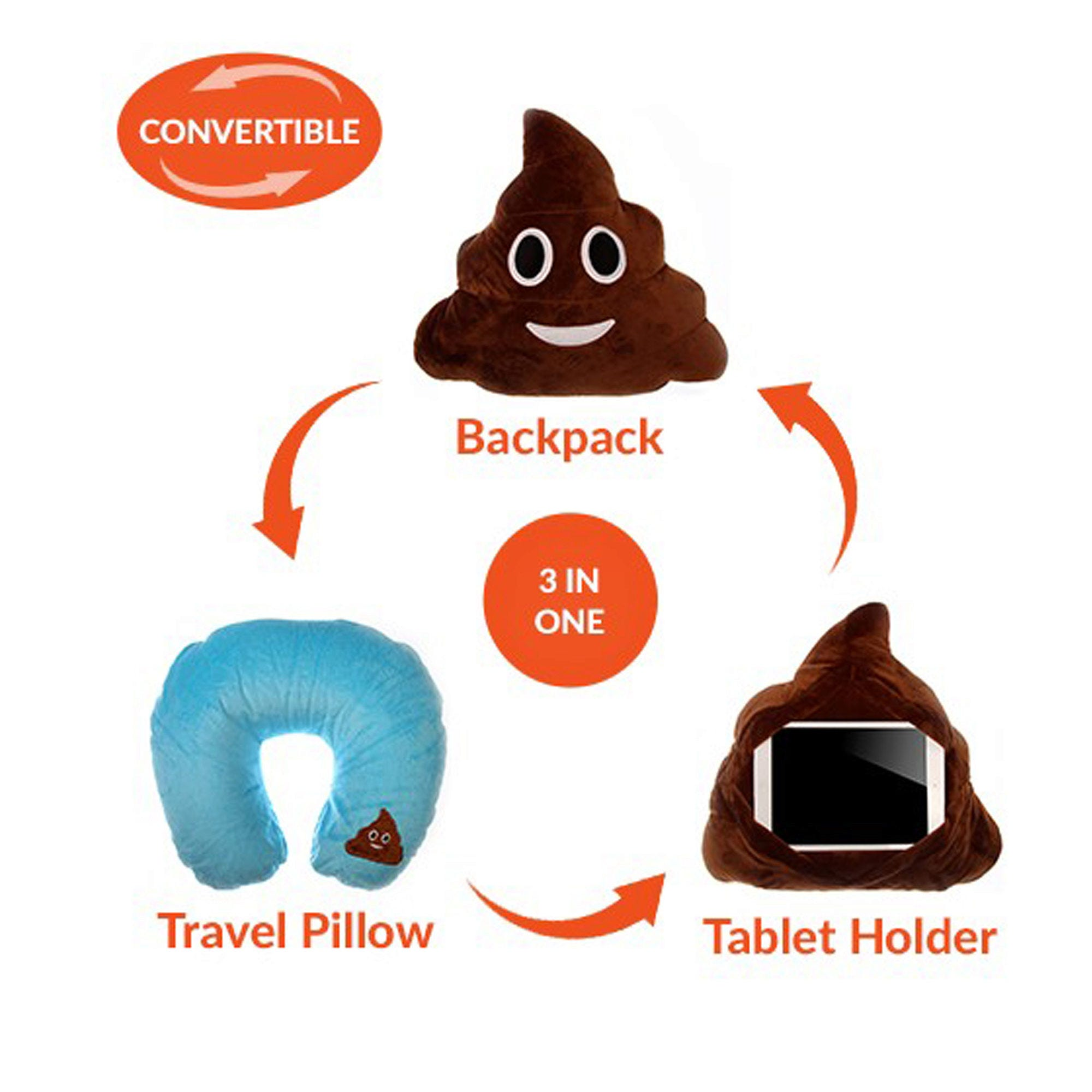 Emoticon 3 in 1 Travel PILLOW - Poop- Qty 8