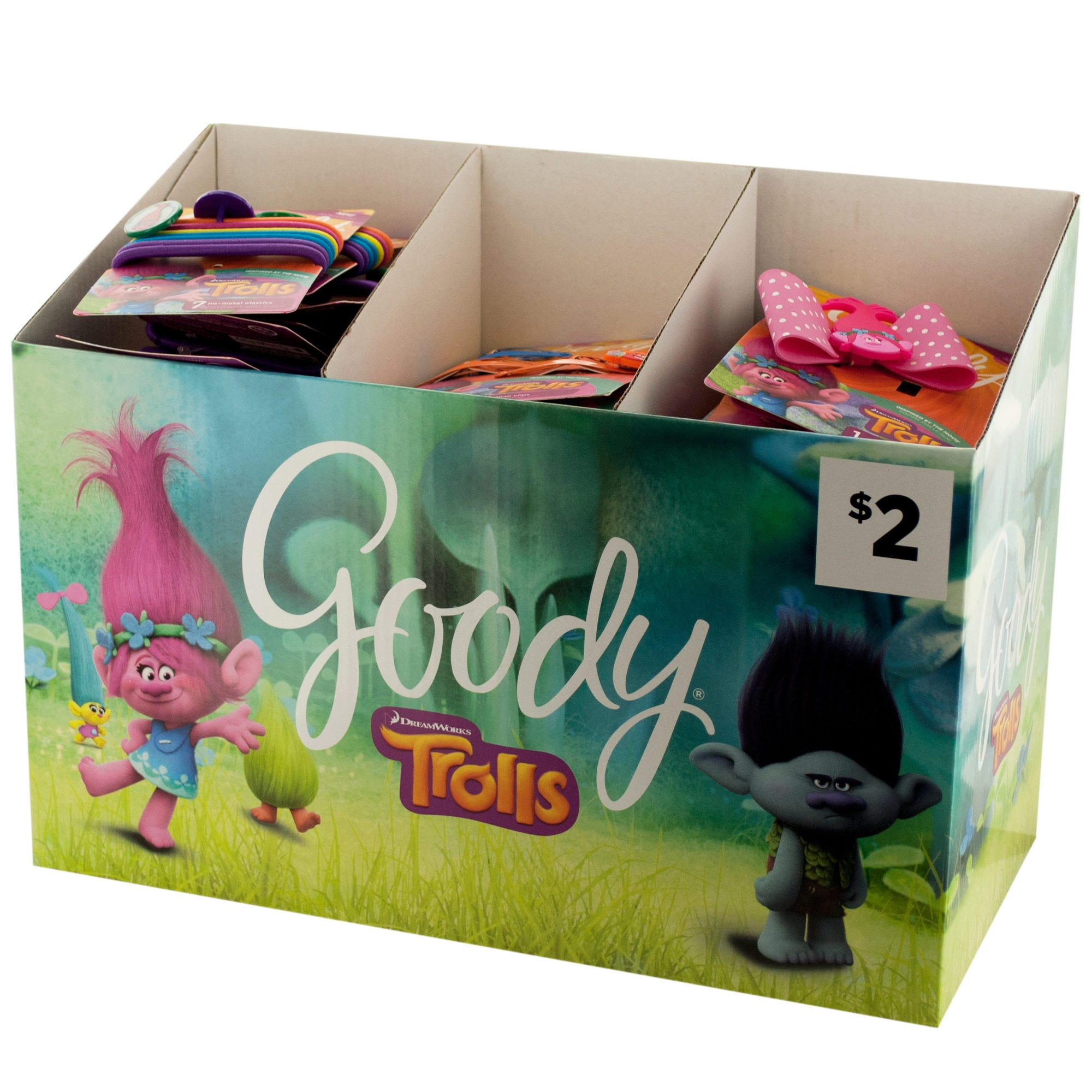 Goody Girls Trolls HAIR ACCESSORIES Countertop Display- Qty 24