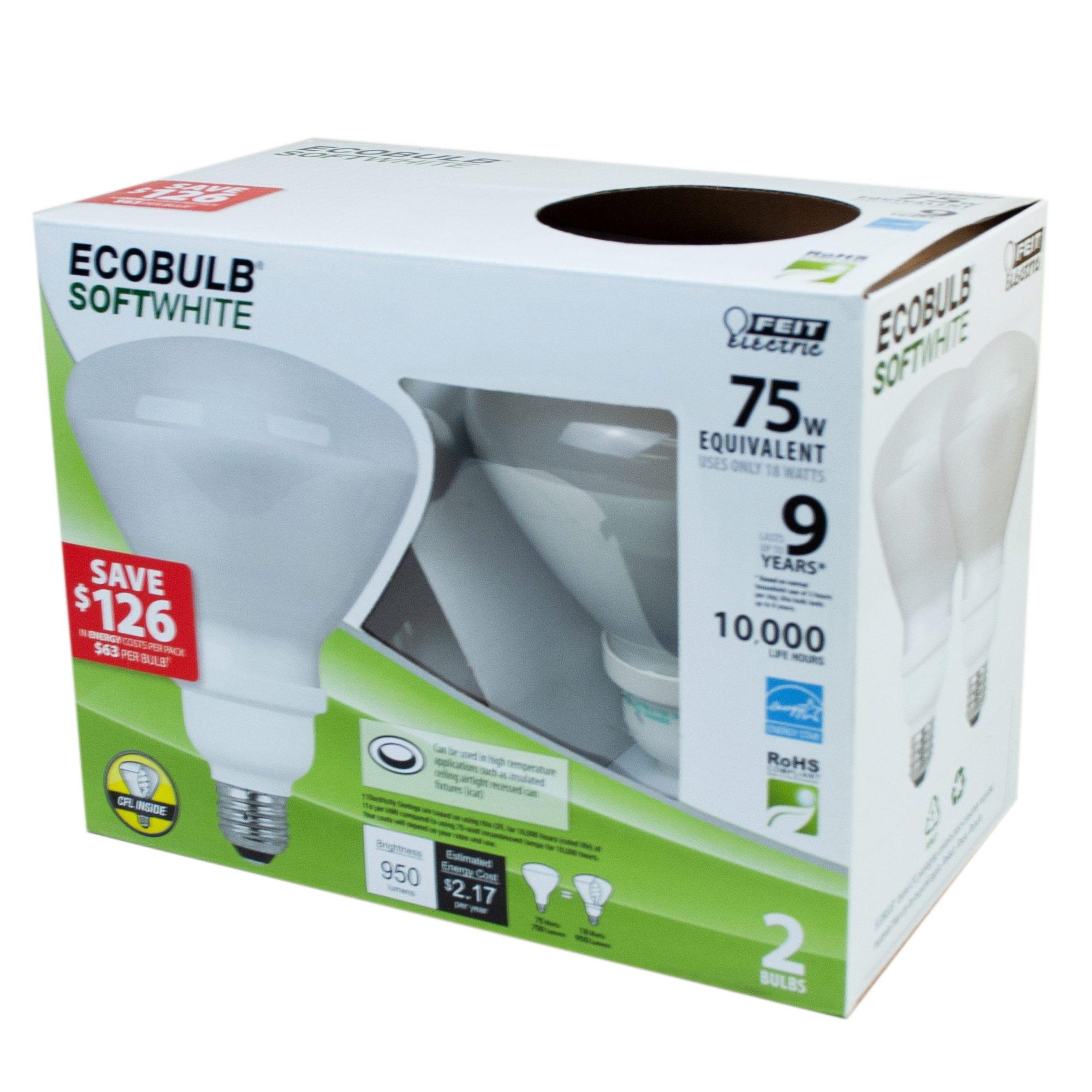 EcoBULB 2 Pk Soft White 75 Watt Equiv. CFL LIGHT BULBS Displ- Qty 6