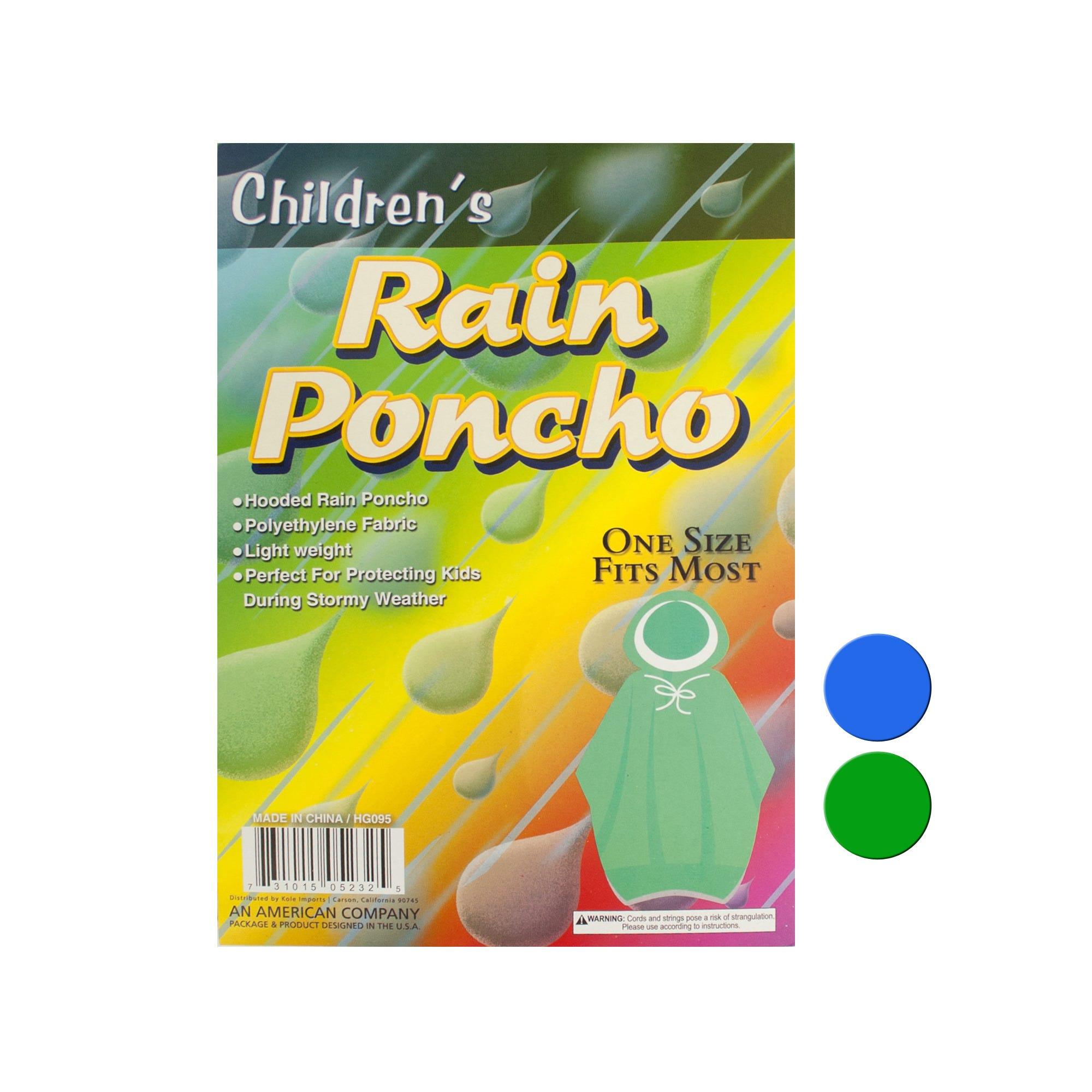 Children's Hooded Rain PONCHO- Qty 24