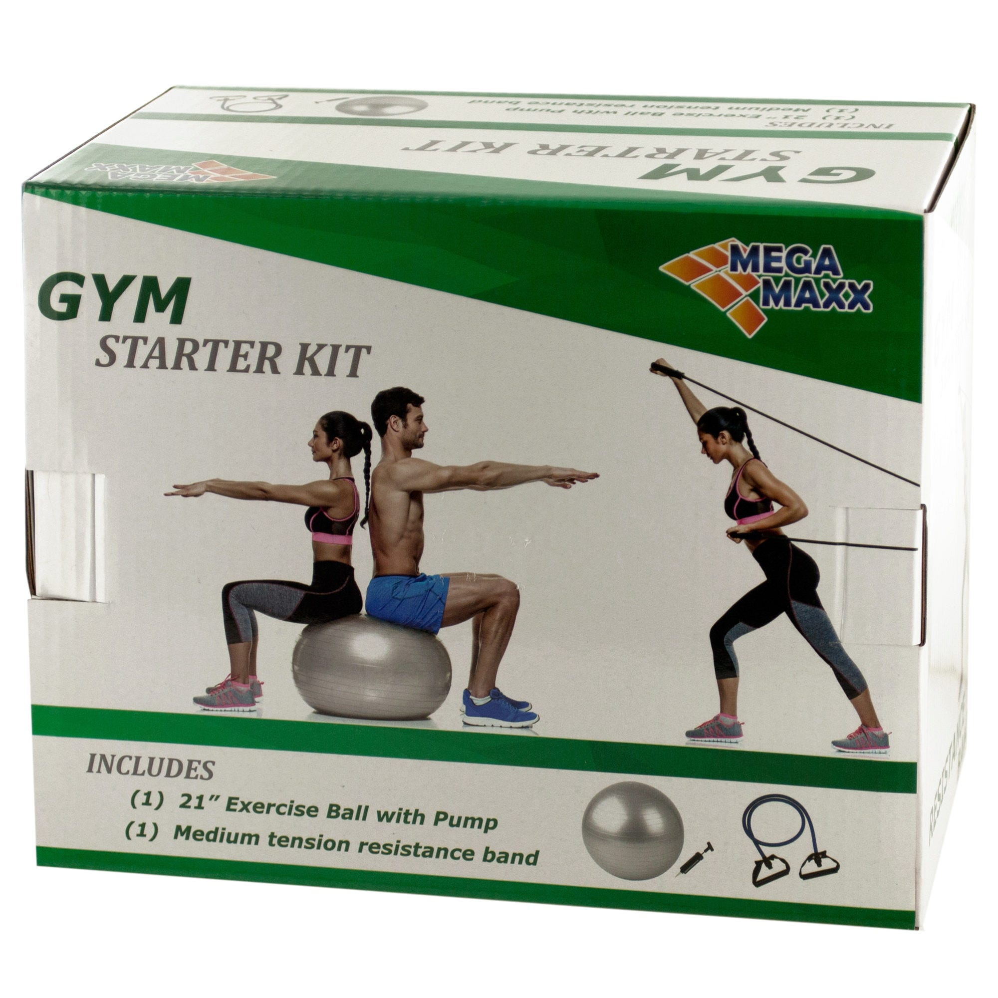 ''Gym Starter Kit with Exercise Ball, Pump & Resistance Band- Qty 4''