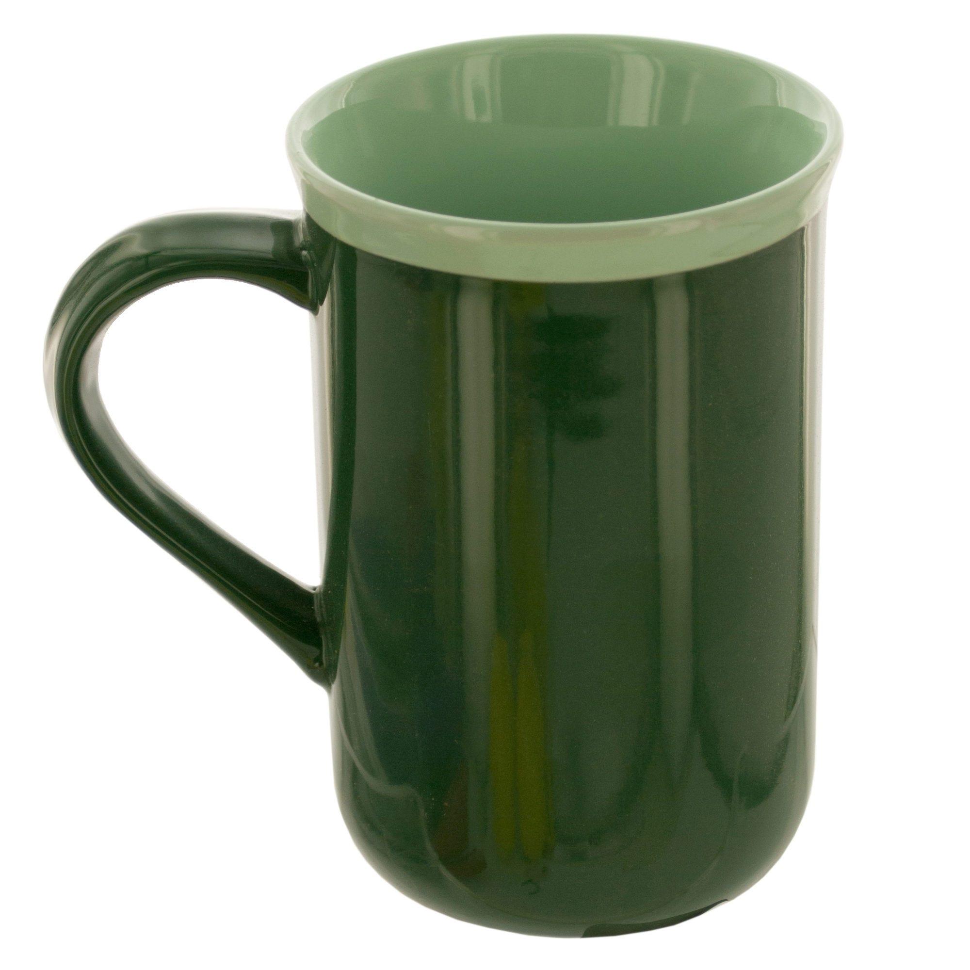 14 oz. Tall Green Ceramic MUG with Mint Rim- Qty 24