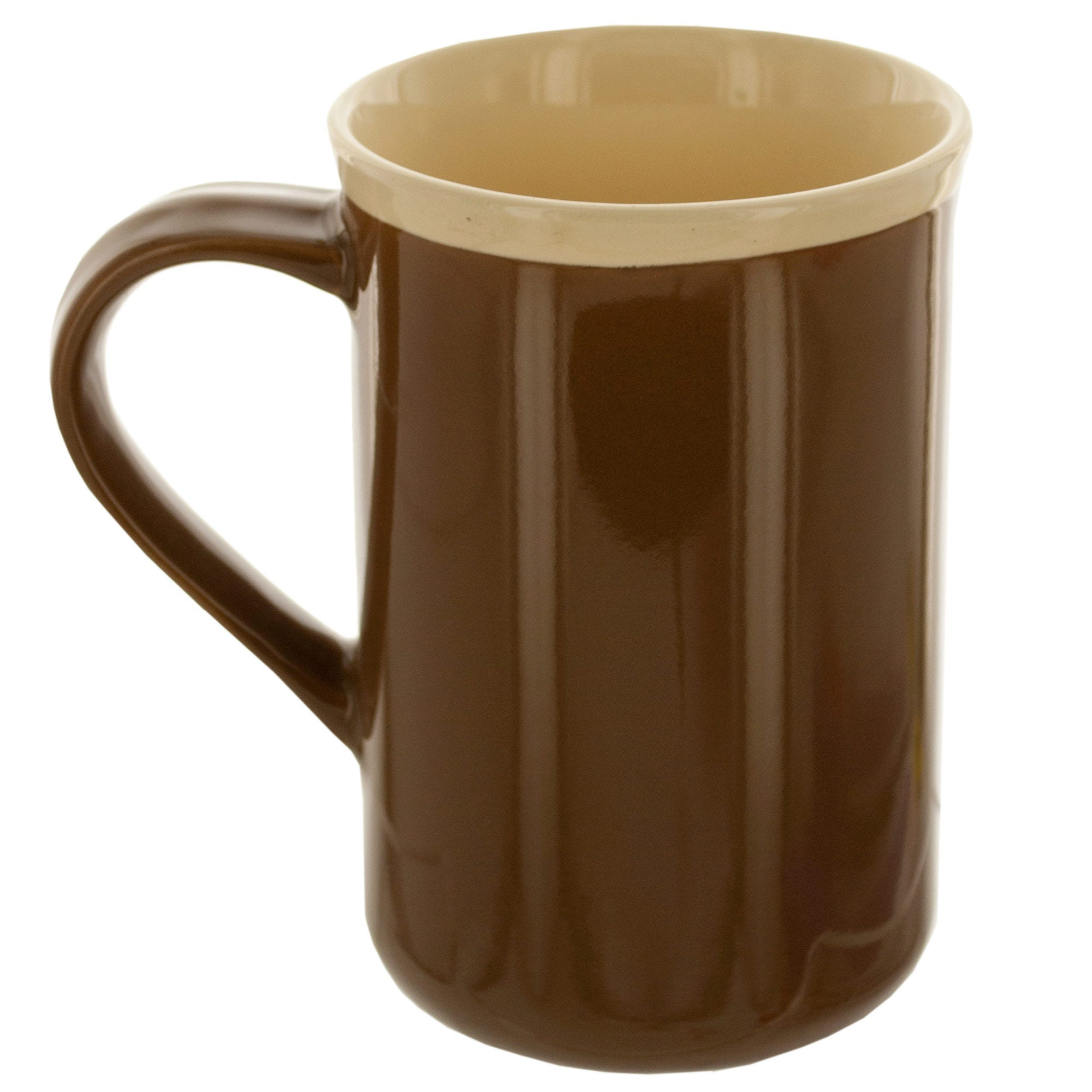 14-Ounce Tall Brown Ceramic MUG with Beige Rim- Qty 24