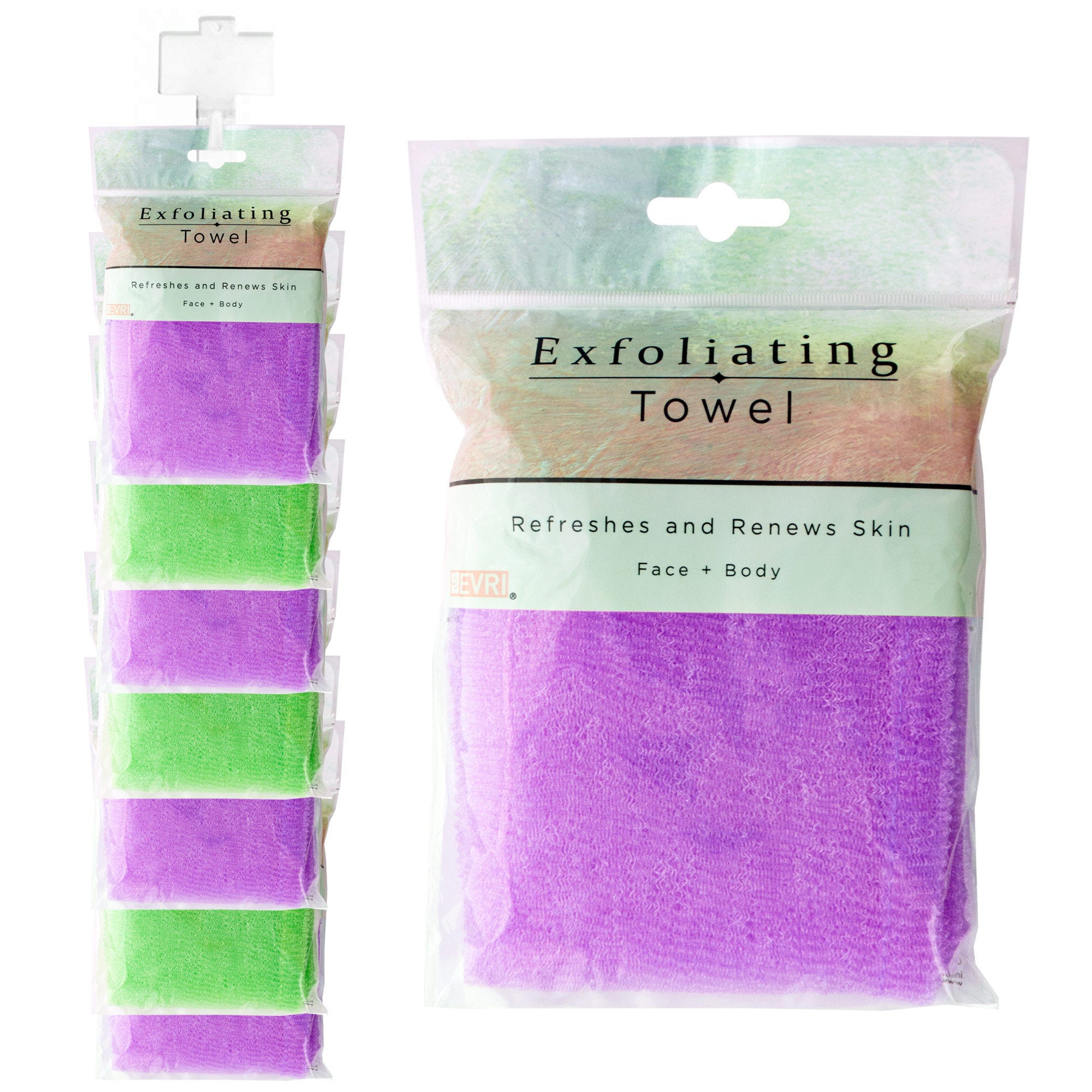 Exfoliating Shower TOWEL Clip Strip- Qty 9