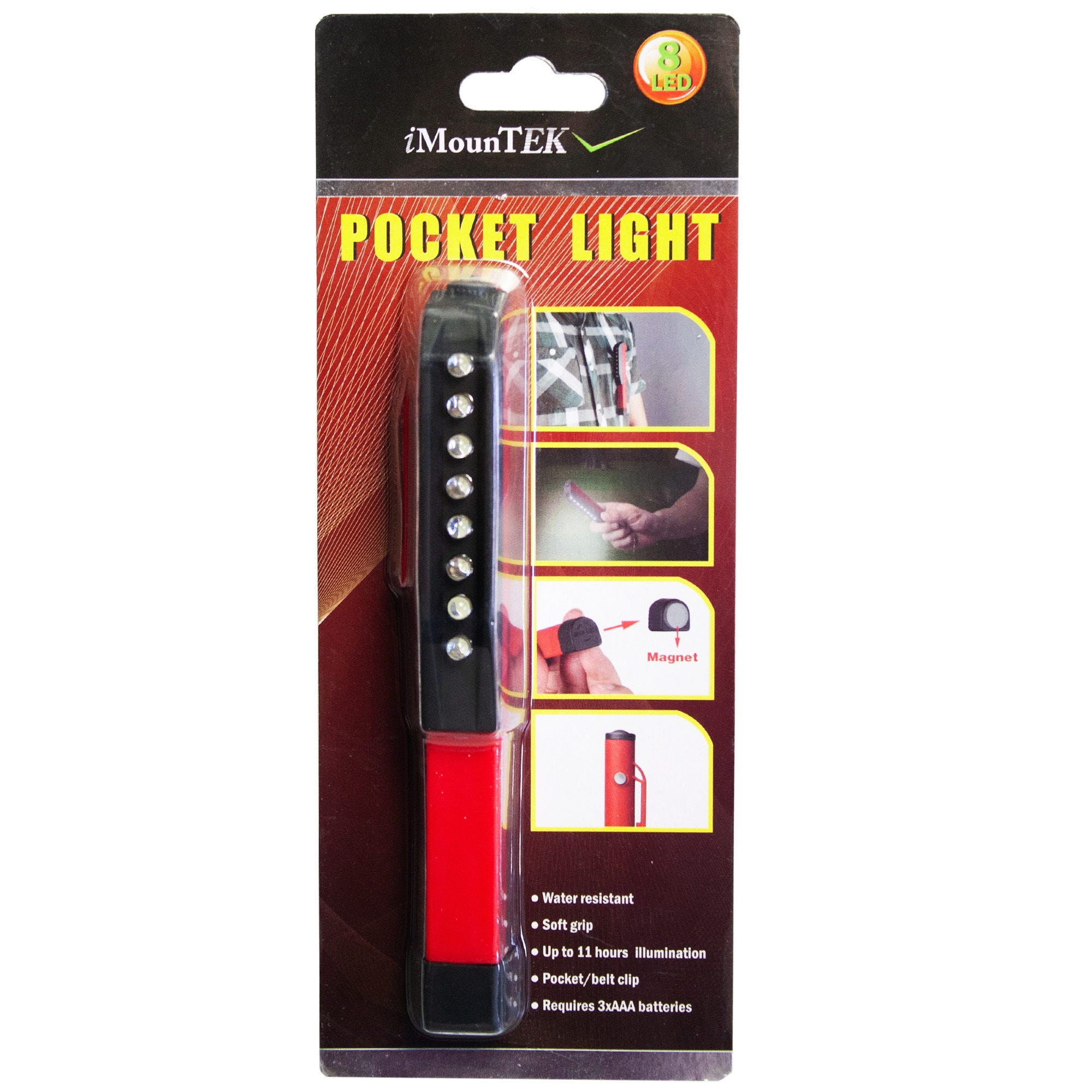 8 LED Water Resistant Pocket Light with Magnet- Qty 16