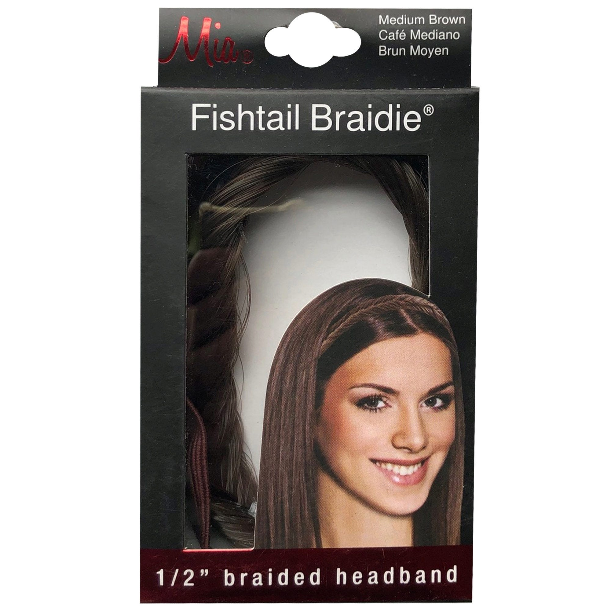 ''Mia Beauty 1/2'''' Medium Brown Fishtail Braided HEADBAND- Qty 24''