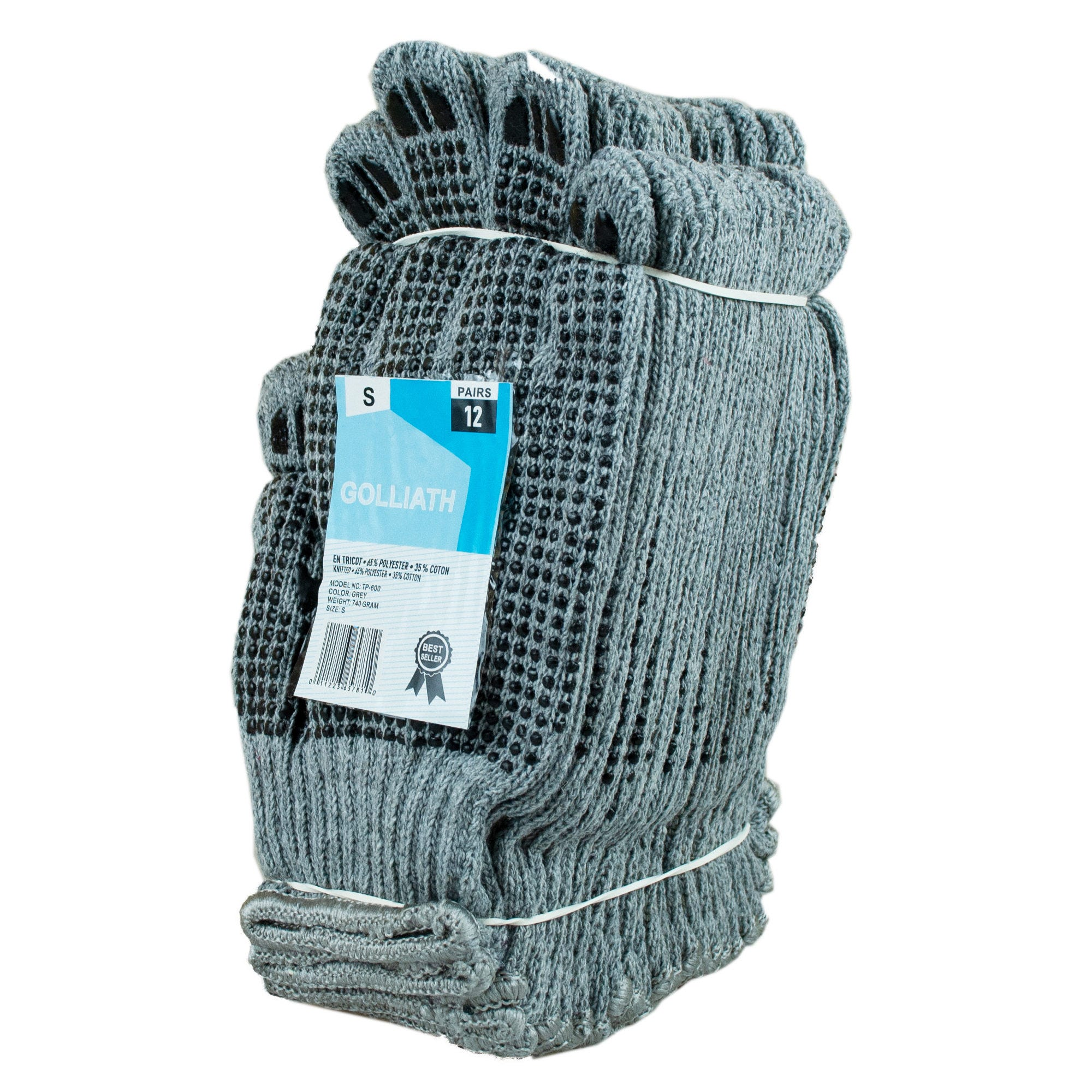 Value Pack 12 Pair Grey Work Gloves with Grip Dots Small