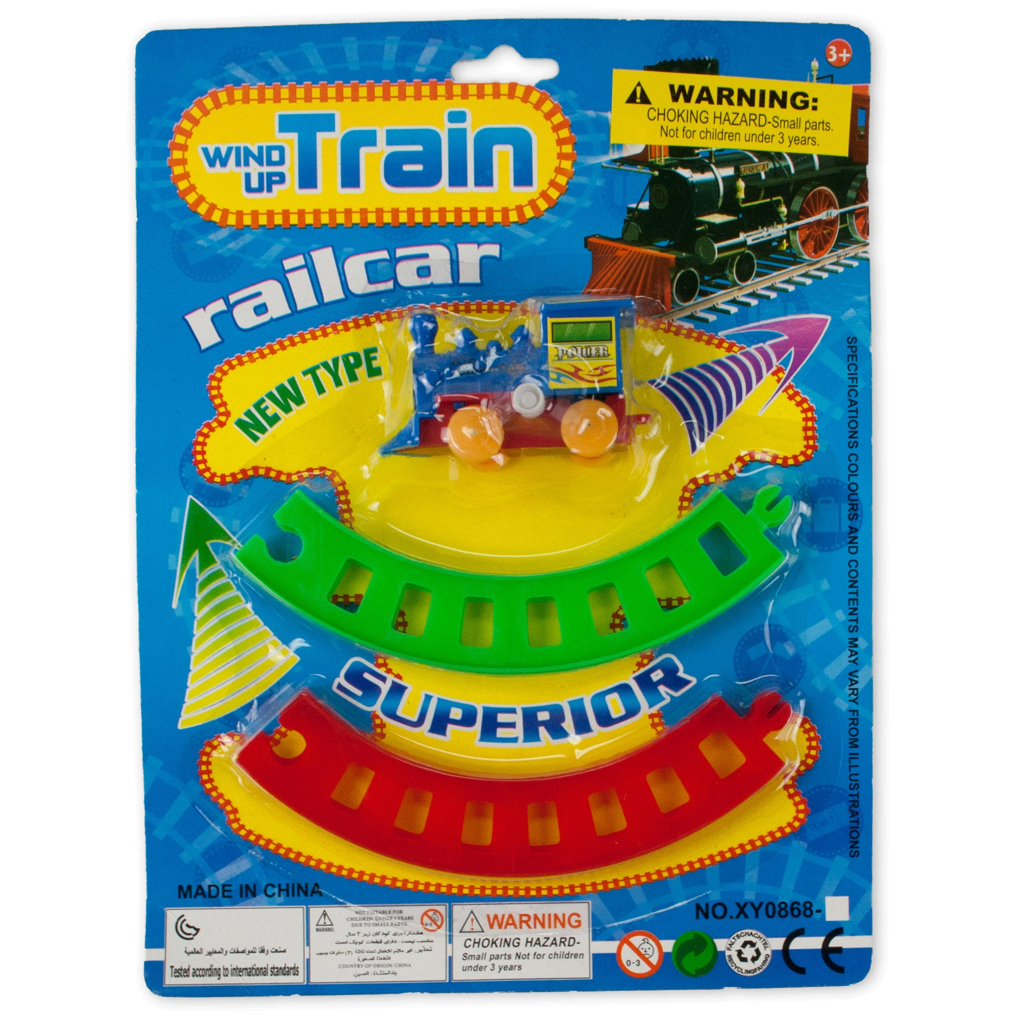 Wind-Up TOY TRAIN with Track Set- Qty 18