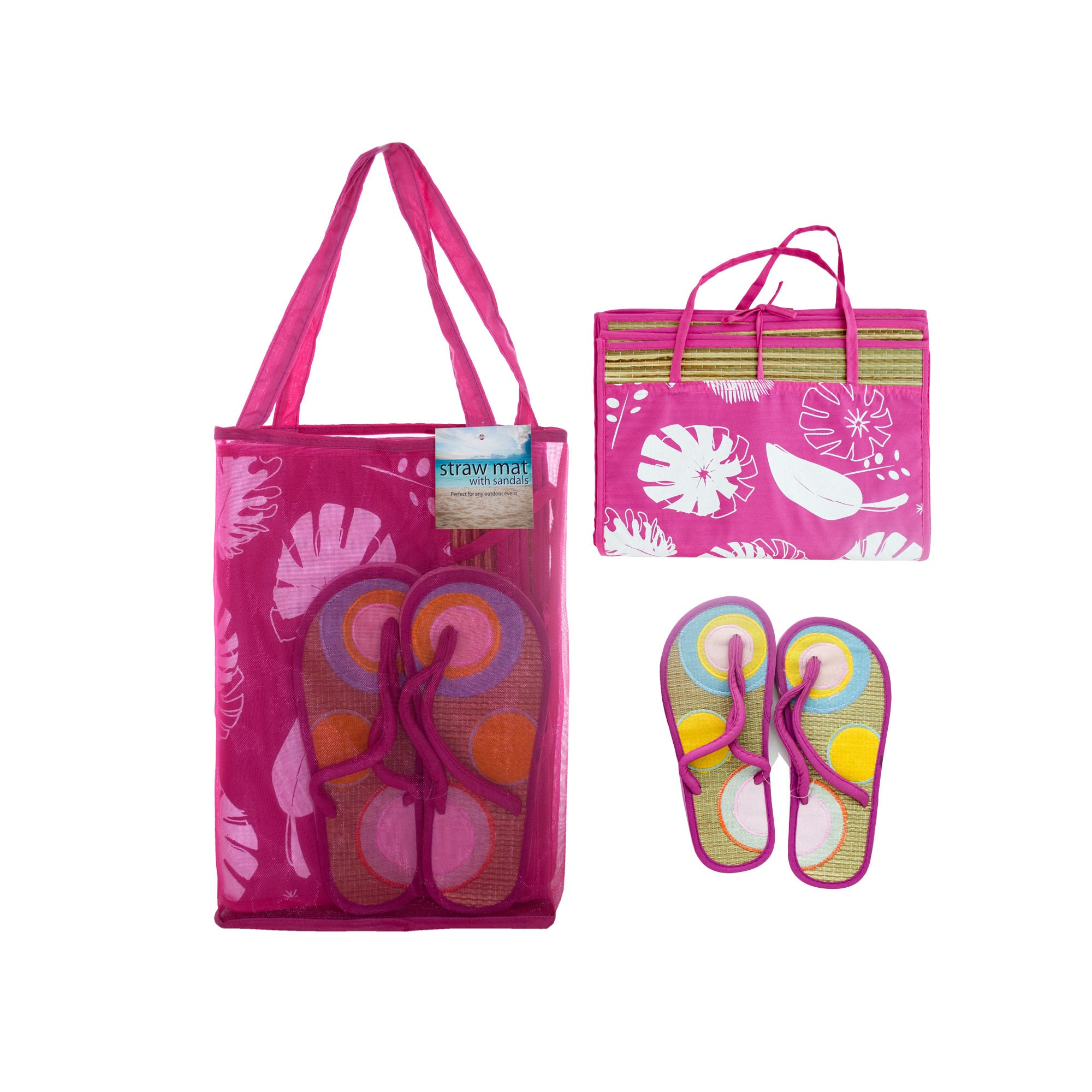 Straw Beach Mat with SANDALS in Carrying Bag Set- Qty 4