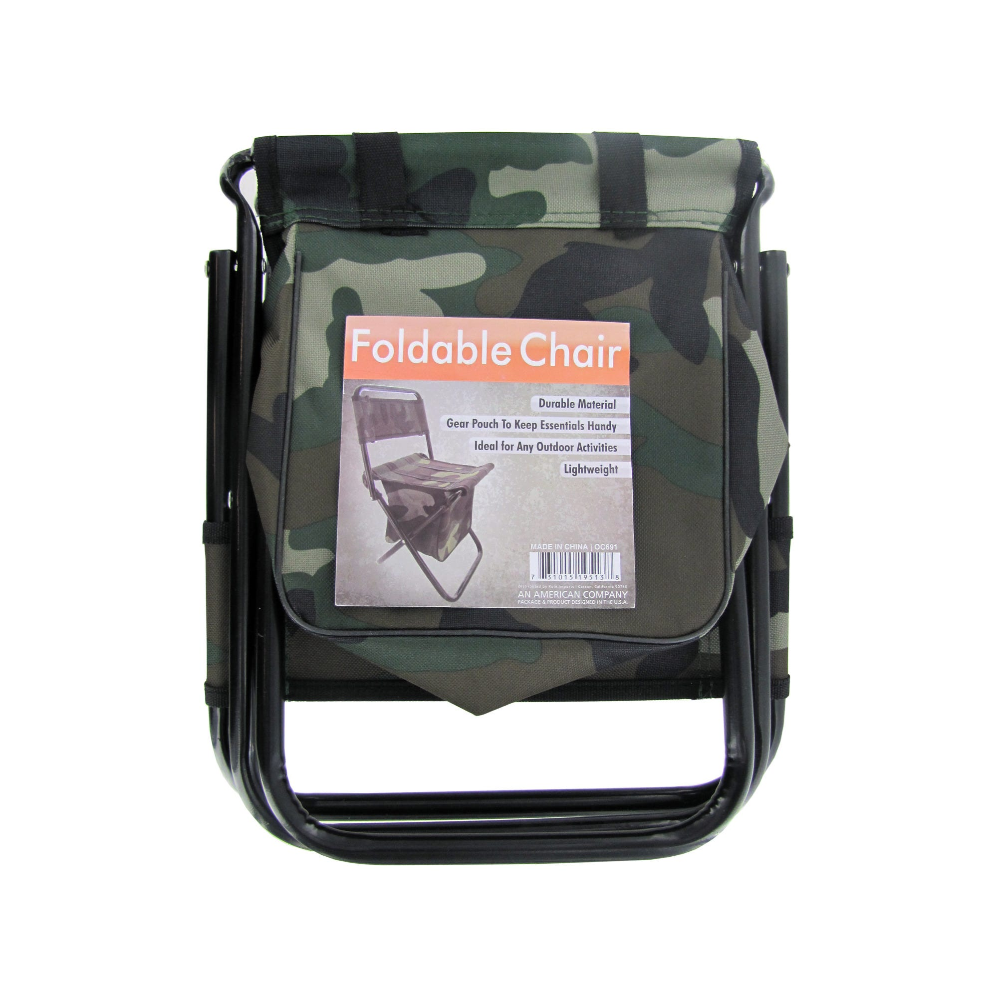 Camouflage Foldable Chair with Zipper Gear Pouch- Qty 4