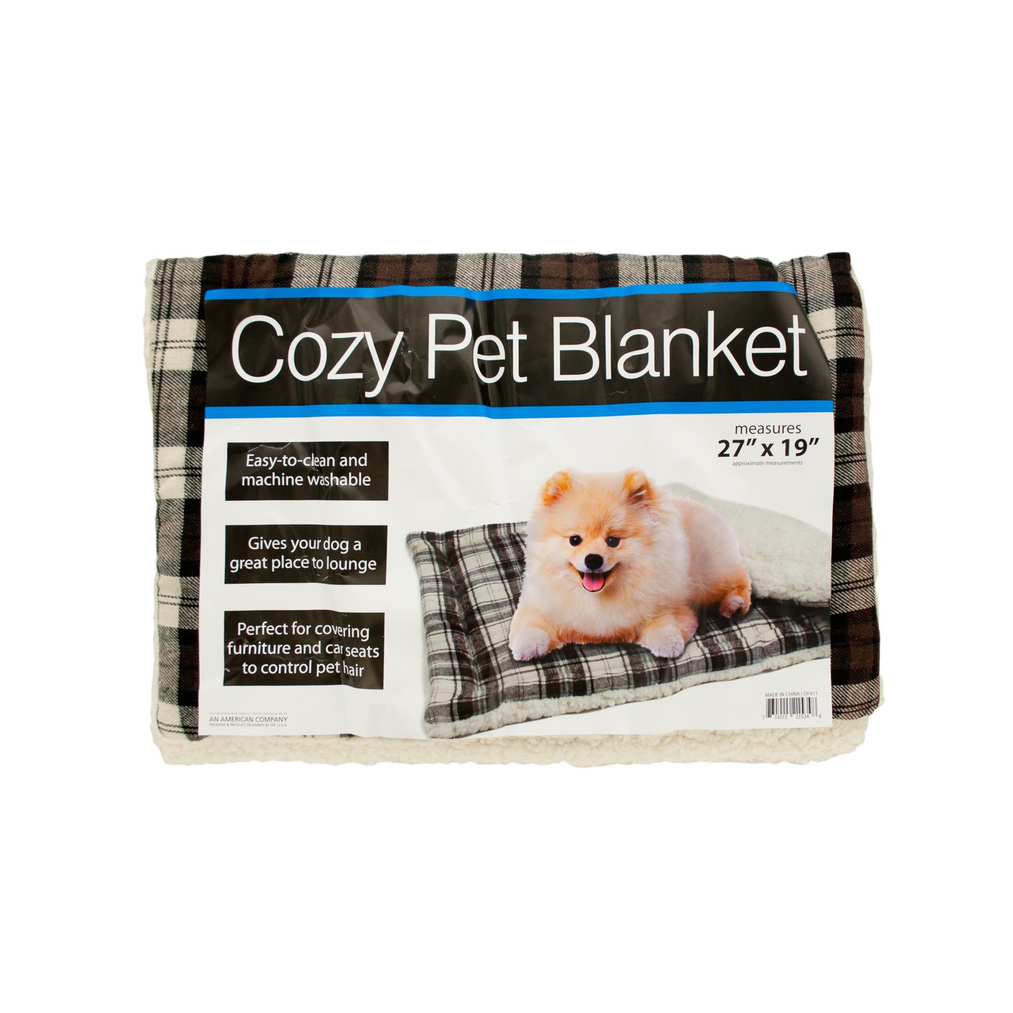 Cozy Plaid Pet BLANKET with Fleece Padding- Qty 4
