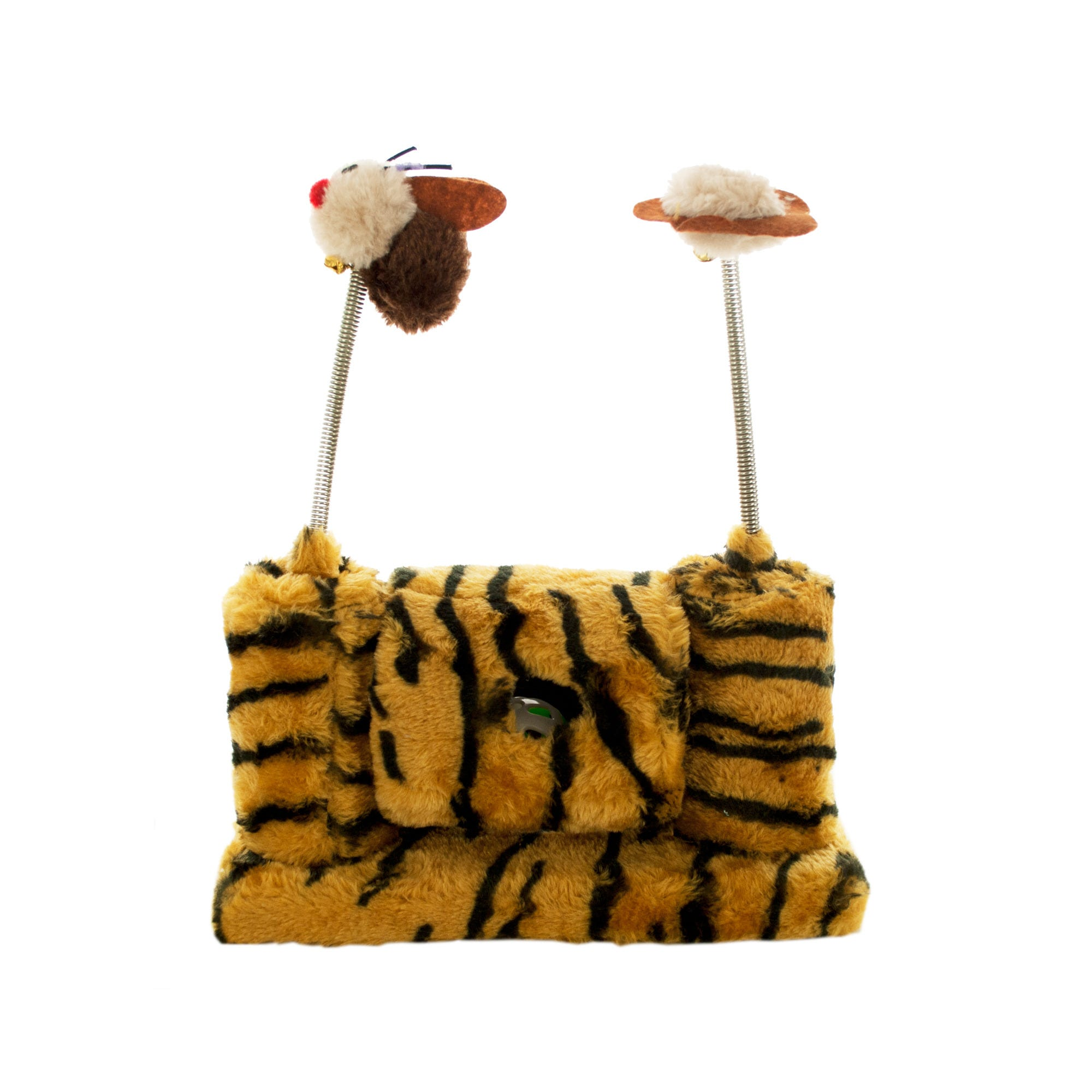 Faux Tiger Fur Cat Playset with Spring TOYS- Qty 4