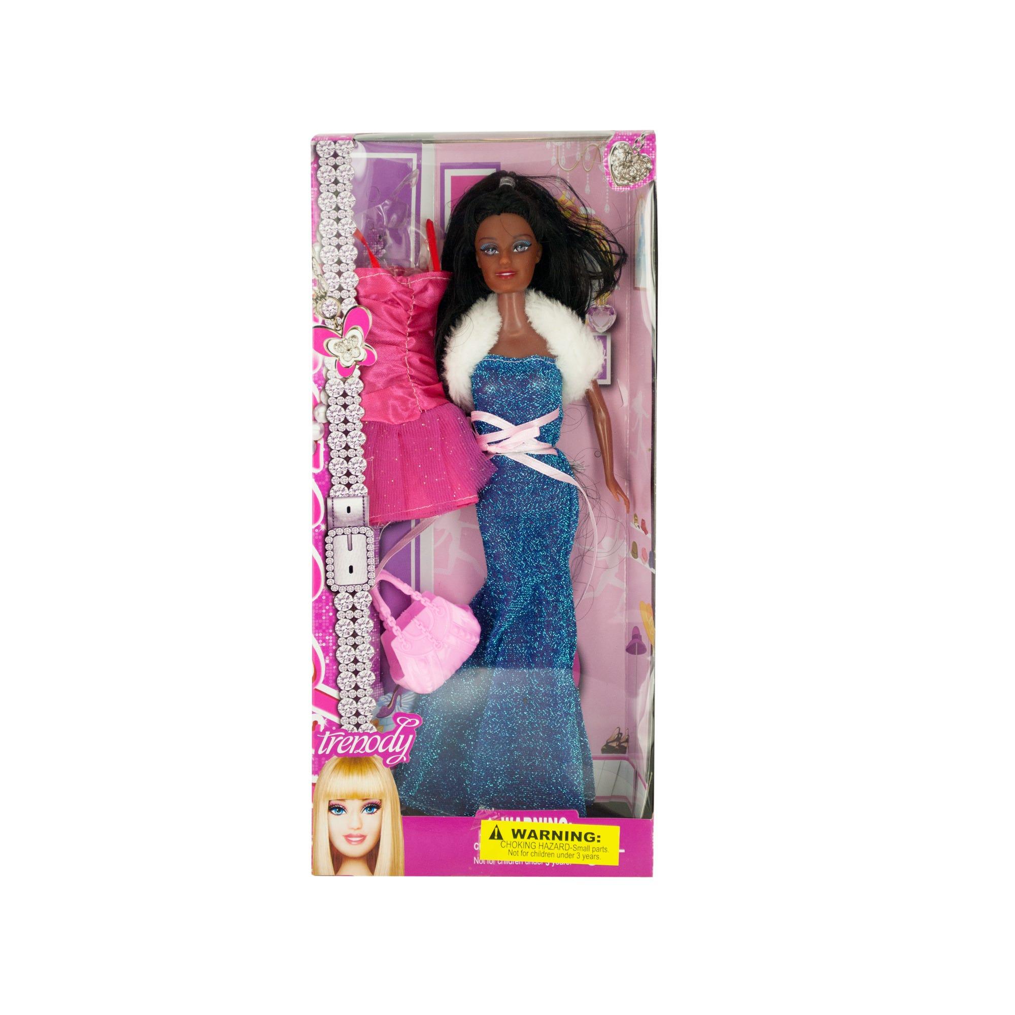 Glamorous Black Fashion Doll with Dress & HANDBAG- Qty 4