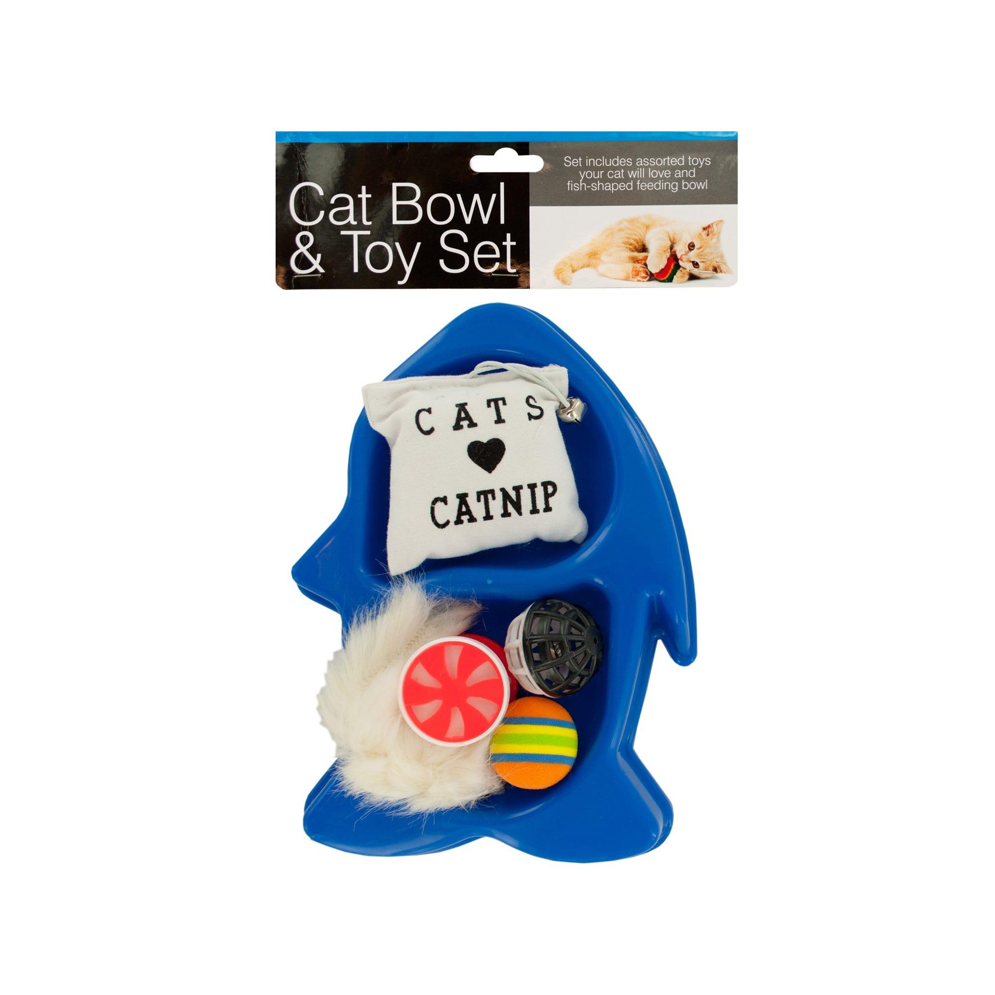 fish-shaped-cat-bowl-toy-set