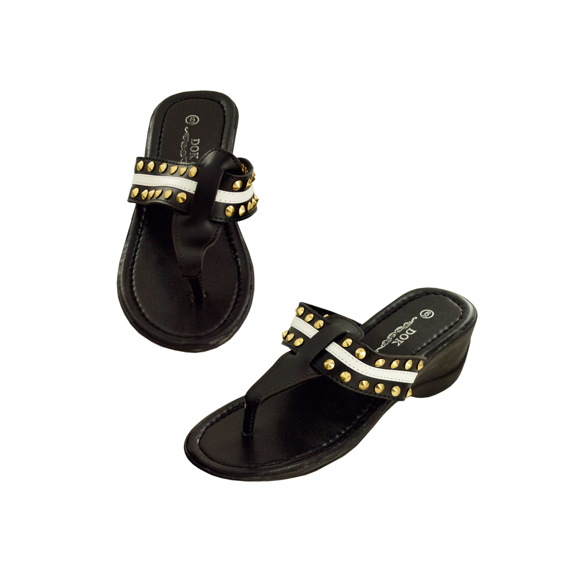 Black Wedge SANDALS with Stripe & Spike Accents- Qty 6