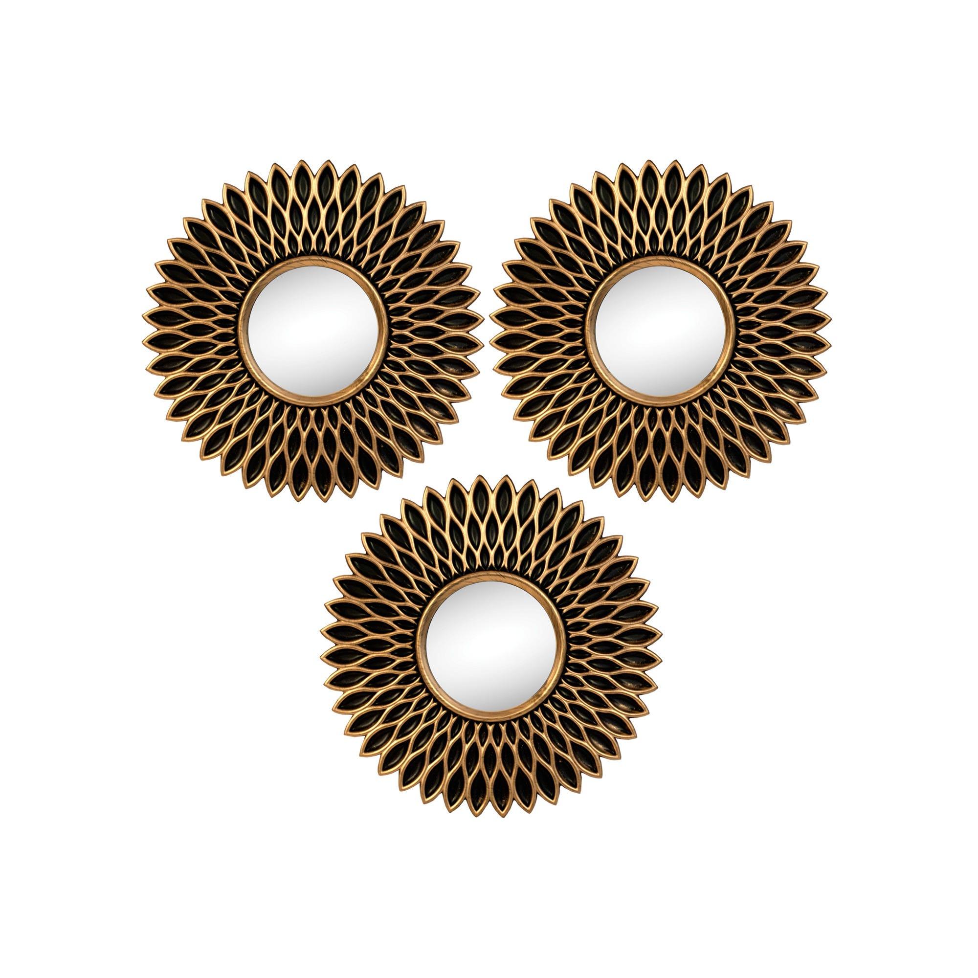 Bronze Sunflower Mirror Set - Qty 4