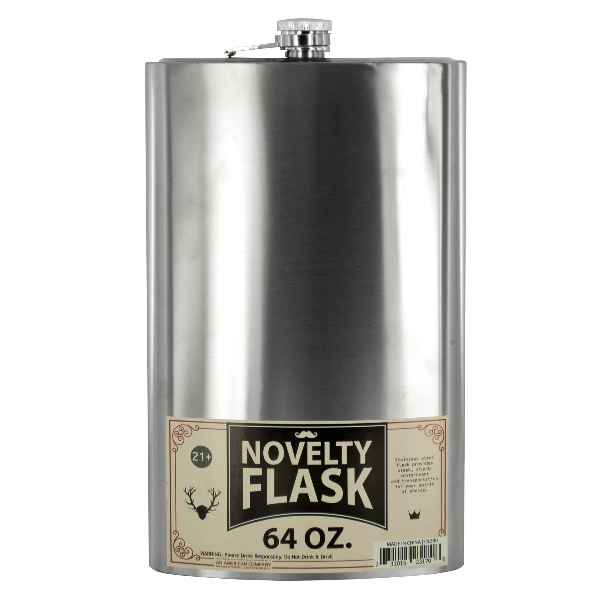 64 oz. Oversized Stainless Steel Novelty Flask- Qty 4