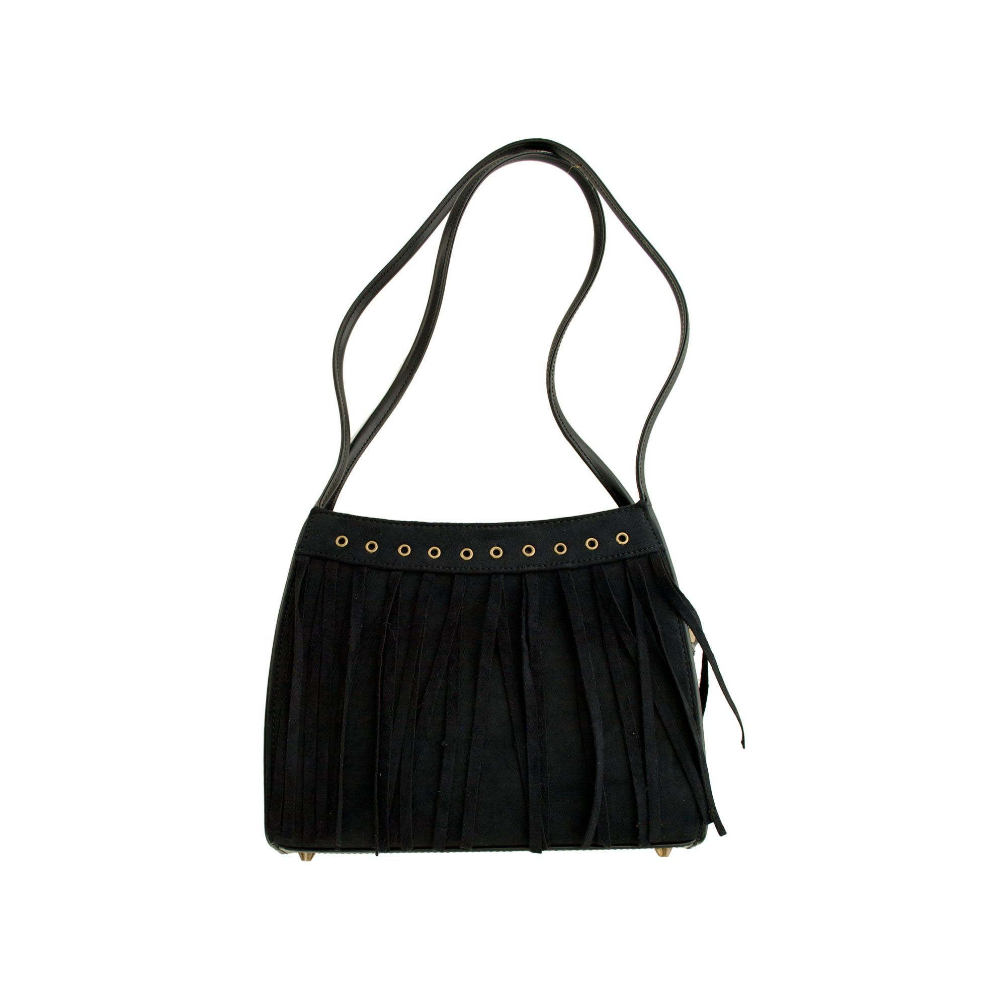 Black Faux Suede Divided HANDBAG with Tassels- Qty 18