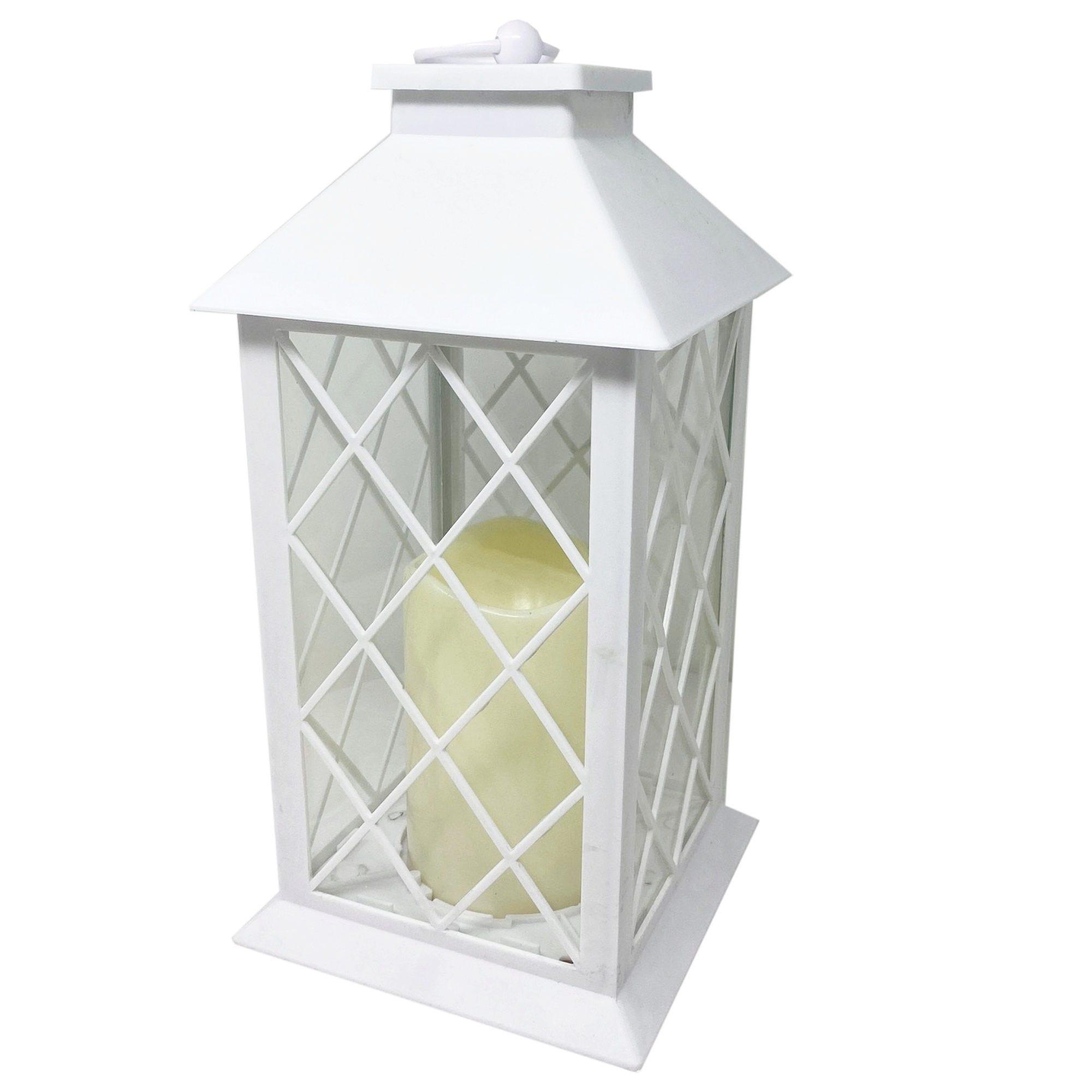 White Decorative LED Lantern with Pillar Candle