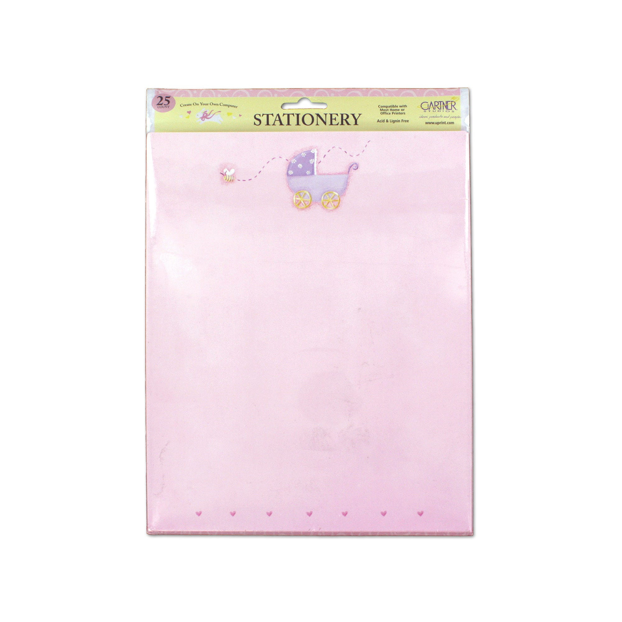 Pink Baby Stationery with Baby Carriage- Qty 24