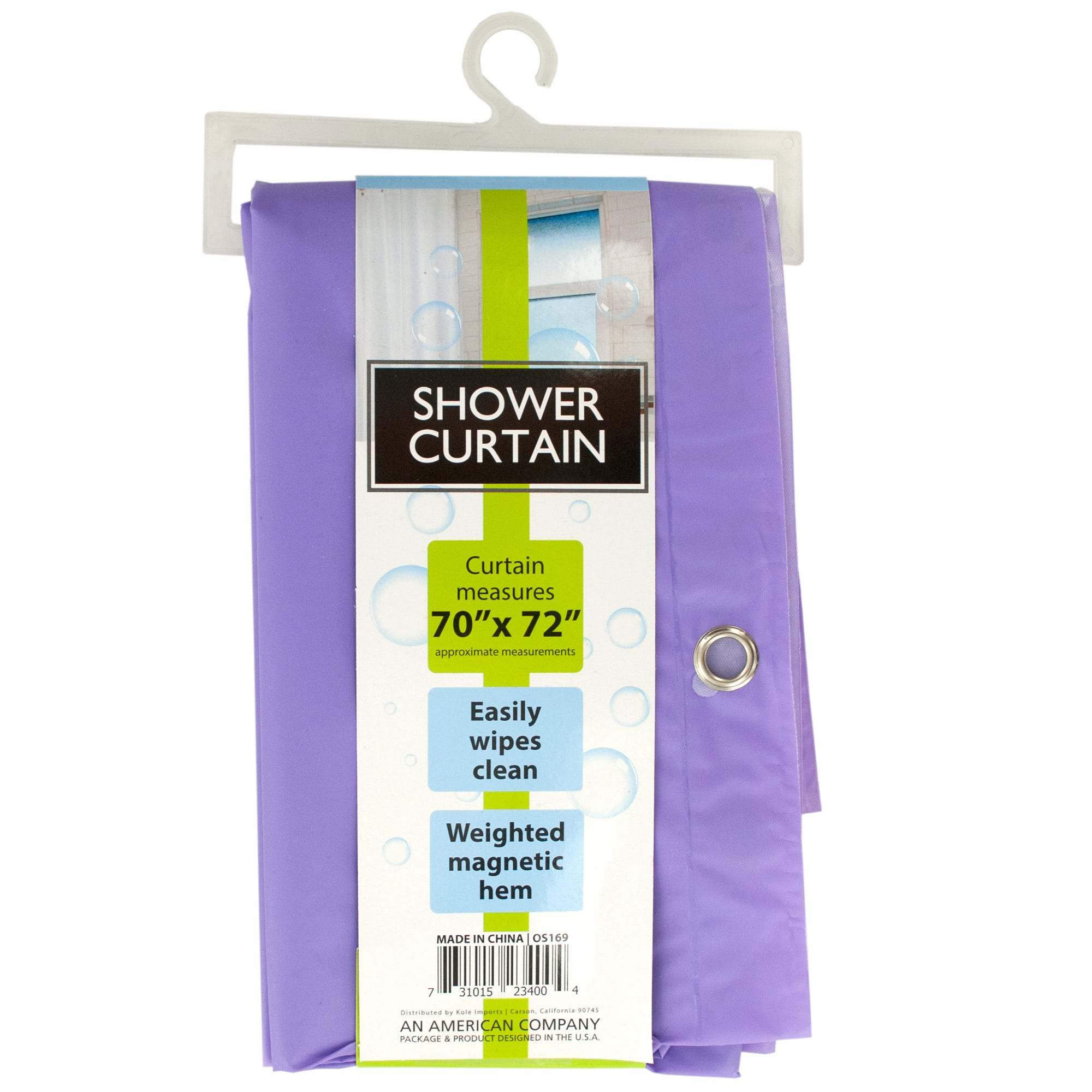 Shower CURTAIN with Weighted Magnetic Hem- Qty 8