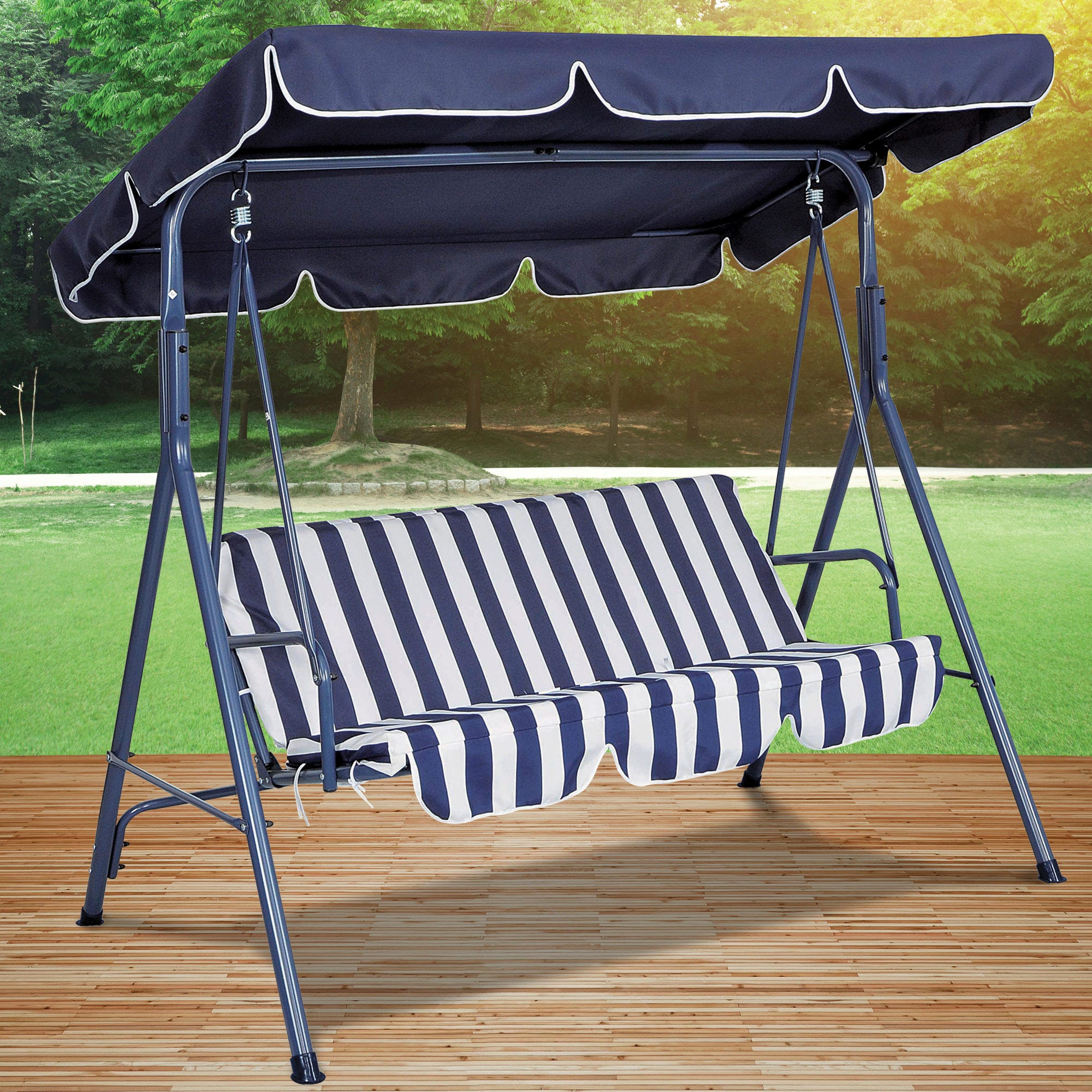 Blue Striped Canopy Swing CHAIR- Qty 1
