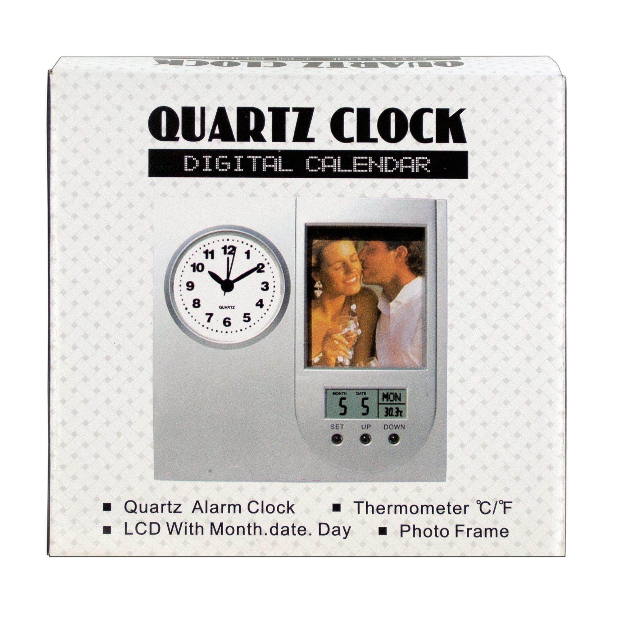 Dual Display Photo Frame Quartz Alarm Clock- Qty 8