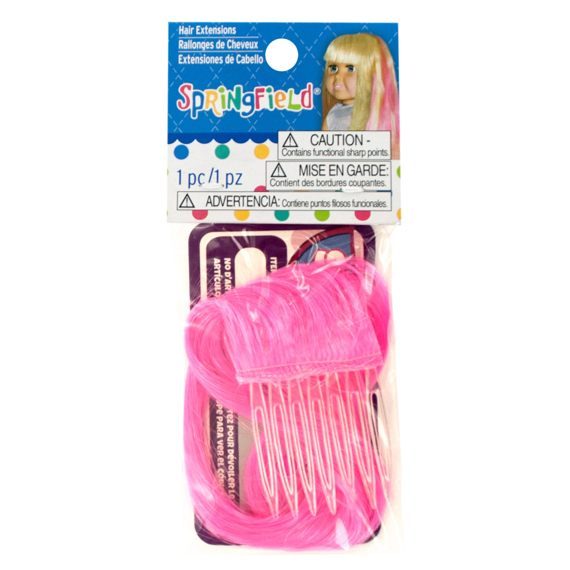 Springfield Hot Pink DOLL Hair Extension- Qty 24