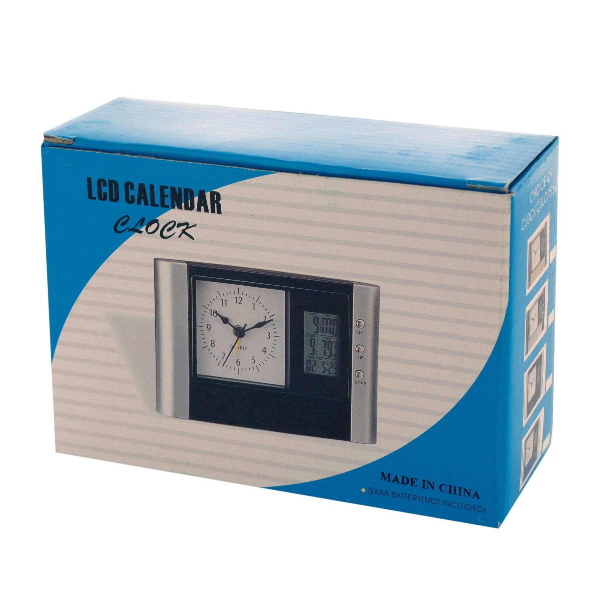 Modern Silver LCD CALENDAR Clock- Qty 8