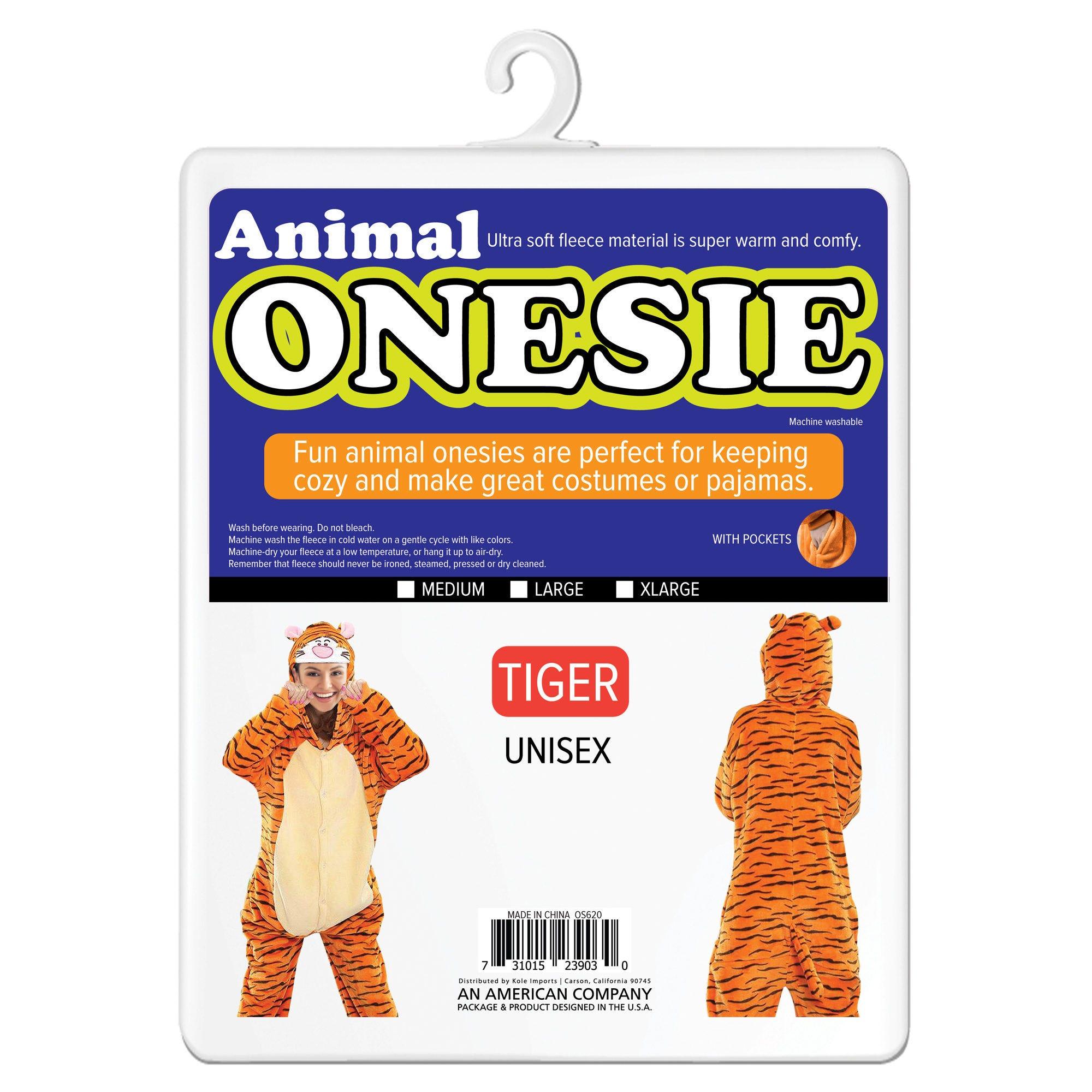Tiger & Panda Adult Unisex Animal Onesie- Qty 2